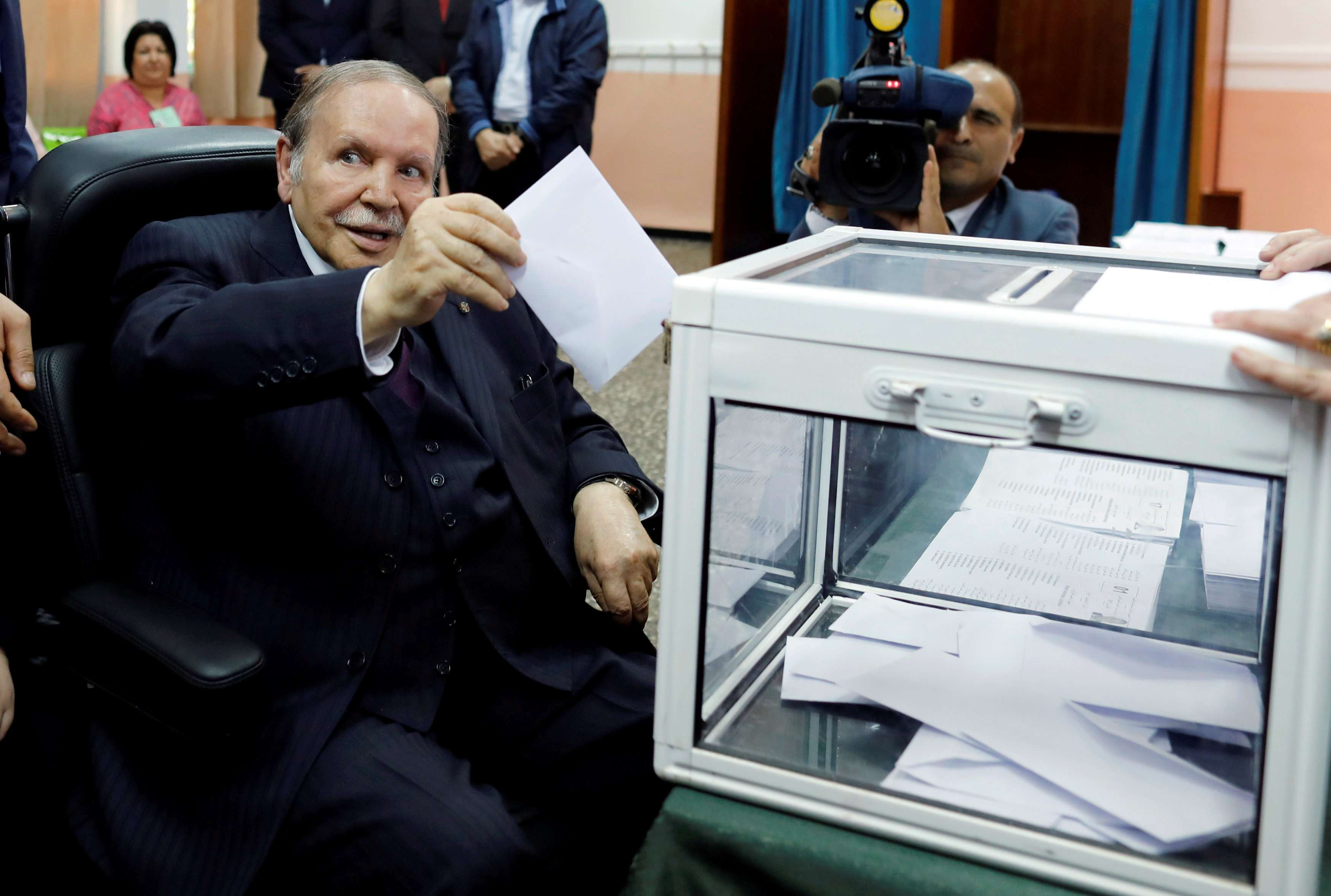 To run or not to run. Algeria's President Abdelaziz Bouteflika casts his ballot during his country's parliamentary election of May 2017. (Reuters)
