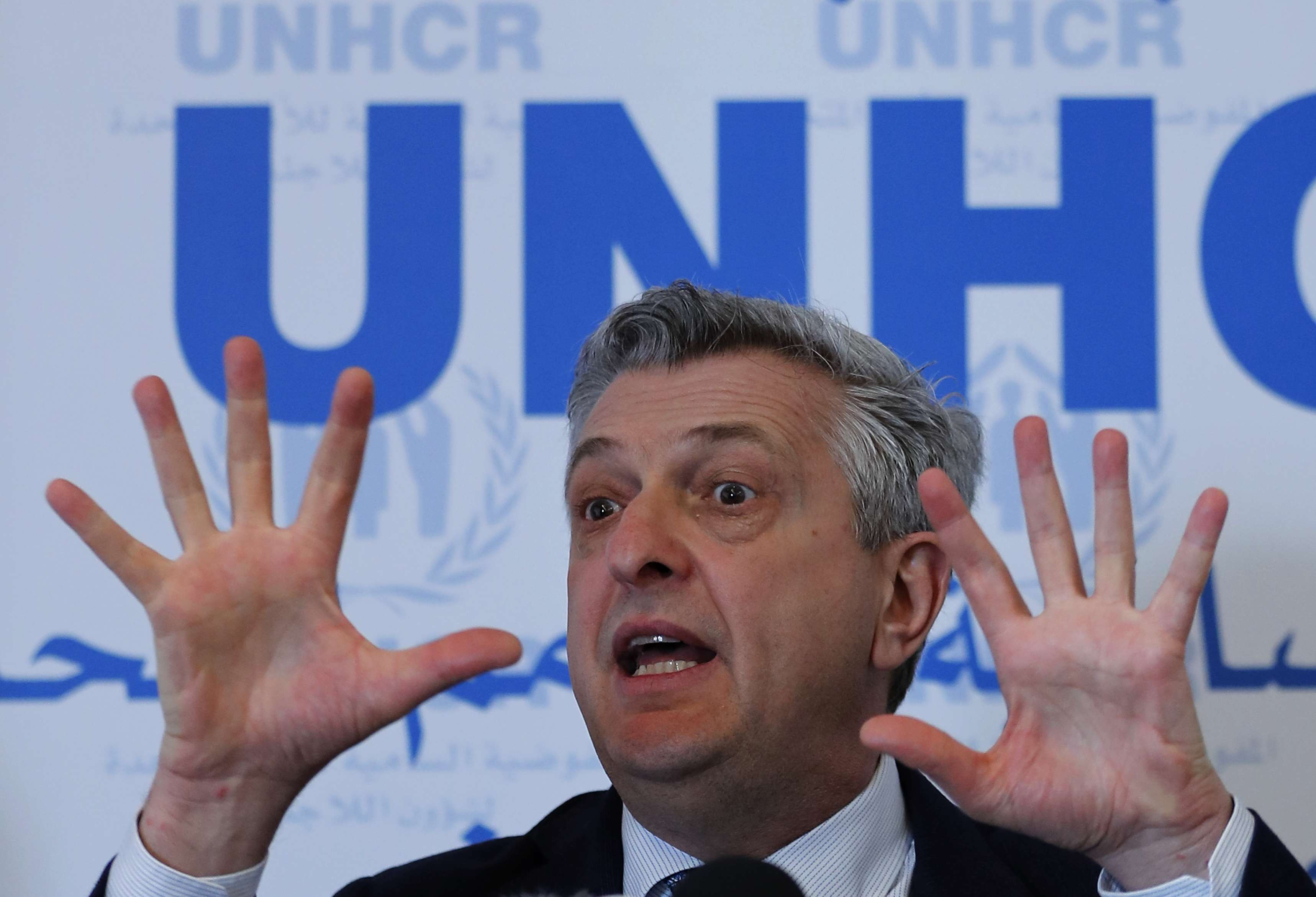Filippo Grandi, UN High Commissioner for Refugees speaks during a press conference in Beirut, on March 9. (AP)