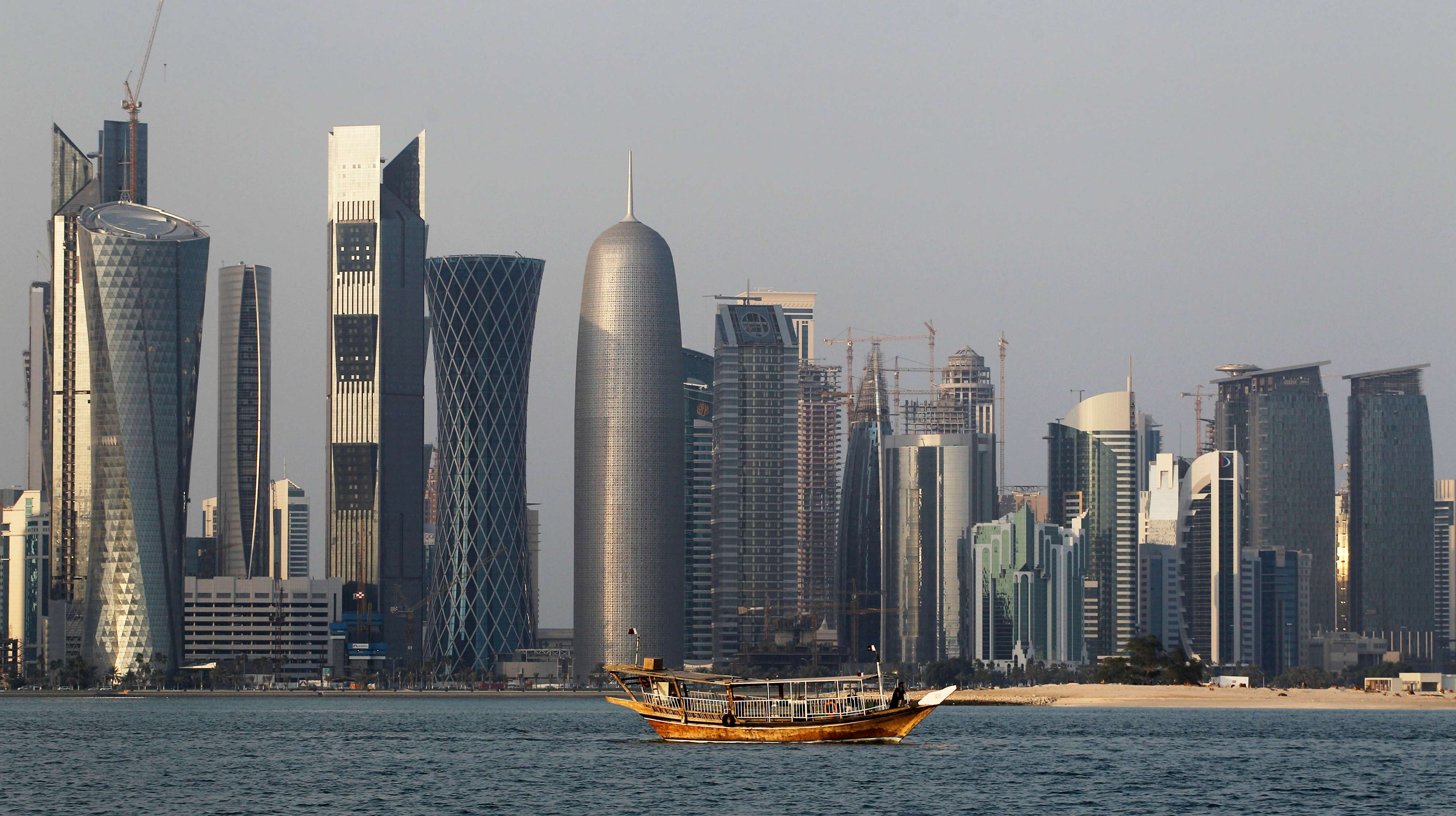 A traditional dhow floats in the Corniche Bay of Doha, Qatar. (AP)