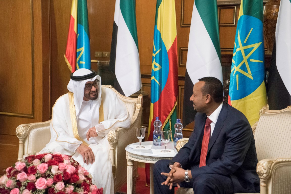 Abu Dhabi Crown Prince Sheikh Mohammed bin Zayed al-Nahyan (L) meets with Ethiopian Prime Minister Abiy Ahmed Ali  during an official visit to Addis Ababa, on June 15. (Crown Prince Court)