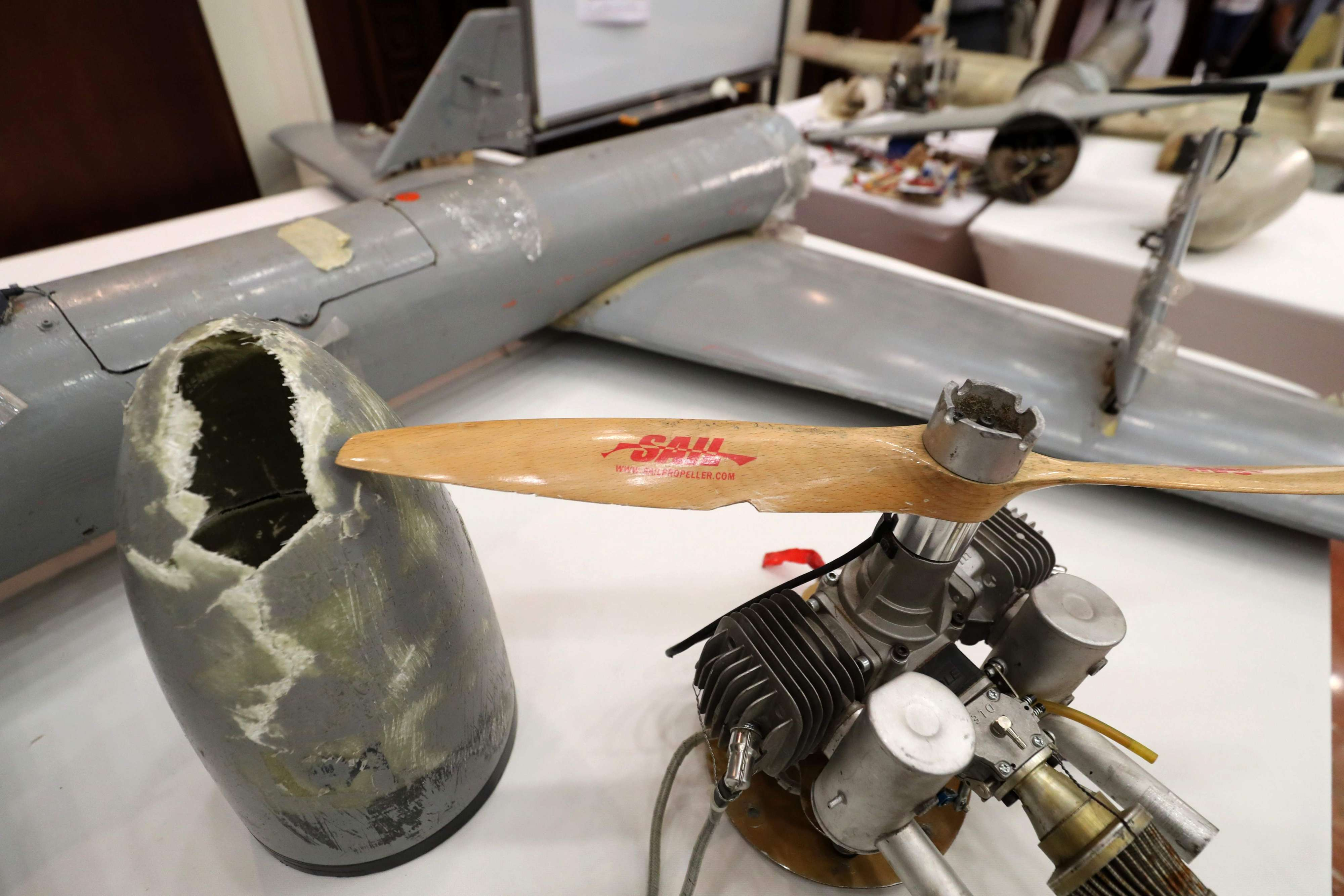 Iran-made Ababil drones and their parts, which were used by Houthi rebels in Yemen, on display in Abu Dhabi, on June 19. (AFP)