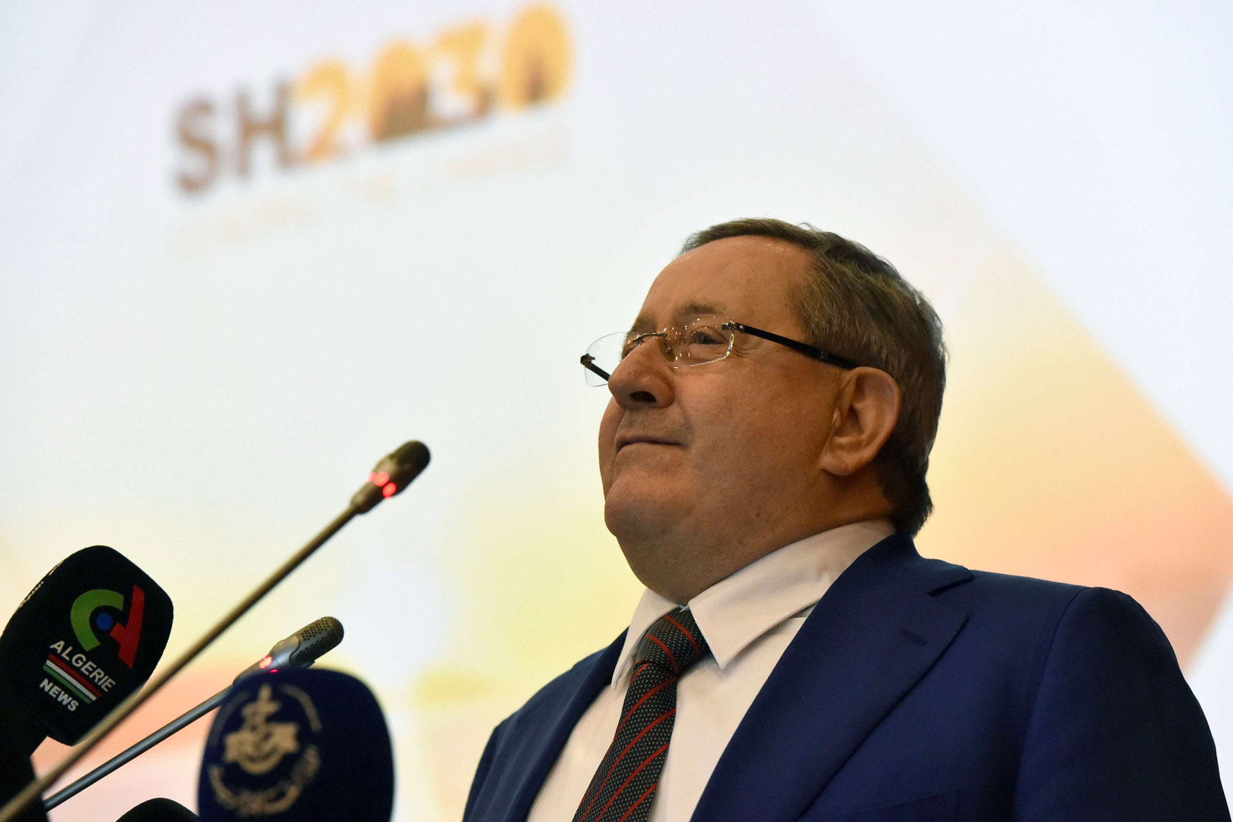 Sonatrach's CEO Abdelmoumen Ould Kaddour attends the strategic plan presentation of Sonatrach at the company's headquarters, last April. (AFP)