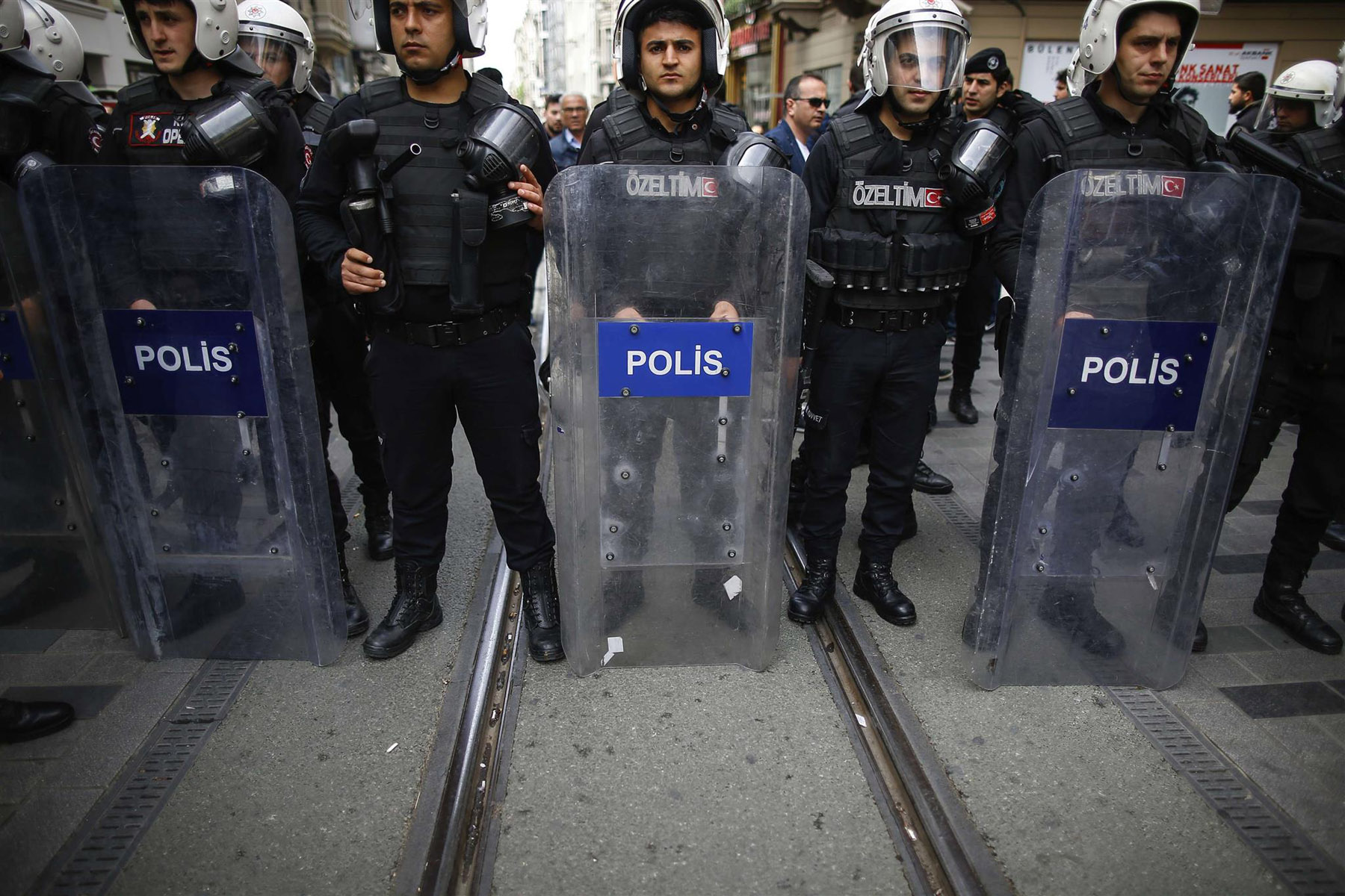 Turkey's police officers look on as supporters of Turkey's main opposition Republican People's Party gather to protest near Taksim Square, last April. (AP)
