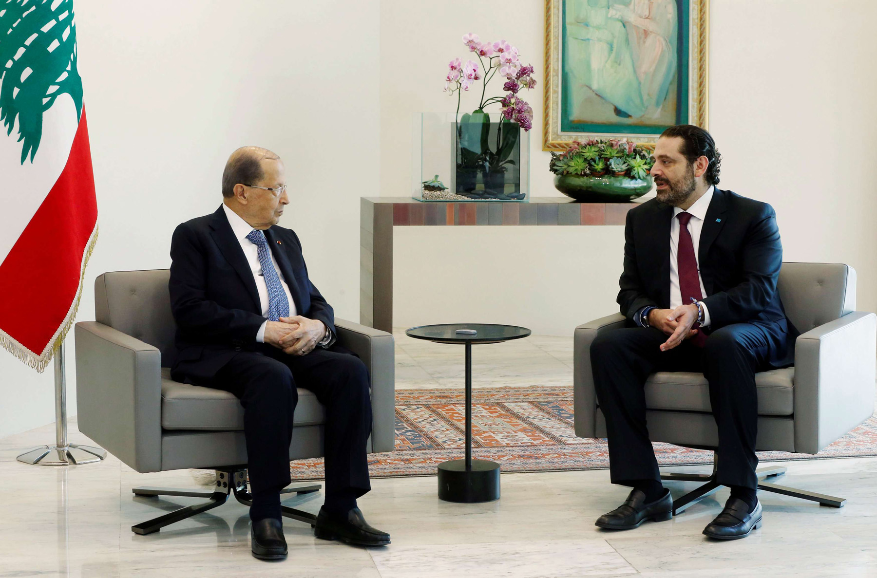 Lebanon's President Michel Aoun (L) meets with Lebanese Prime Minister-designate Saad Hariri at the presidential palace in Baabda, on June 22. (Reuters)