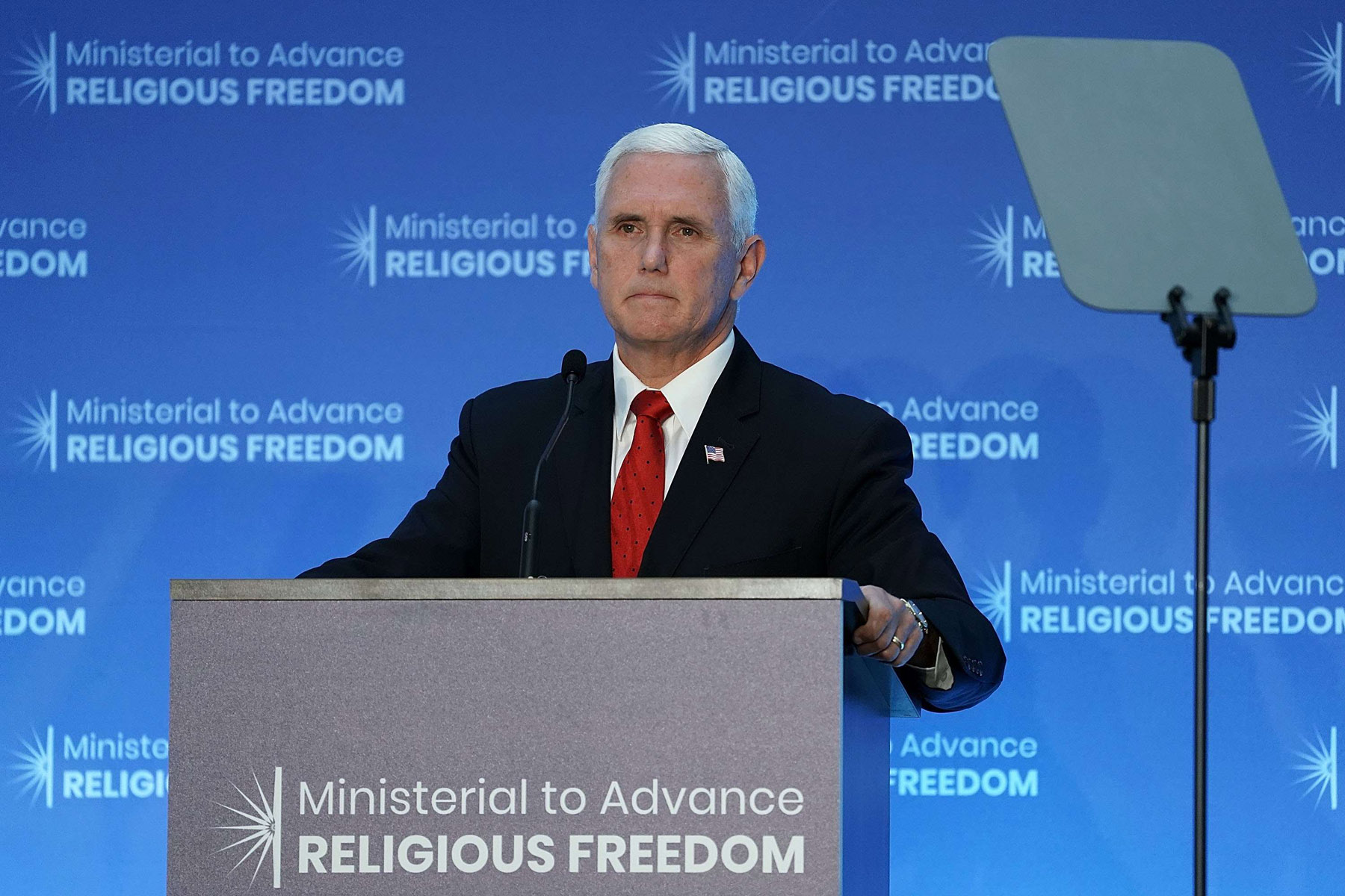 Sharply critical. US Vice-President Mike Pence speaks during the first Ministerial to Advance  Religious Freedom at the US Department of State in Washington, on July 26. (AFP)