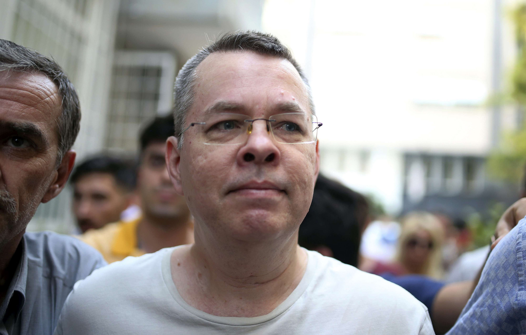 From prison to house arrest. American pastor Andrew Craig Brunson arrives at his house in Izmir, on July 25. (AP)