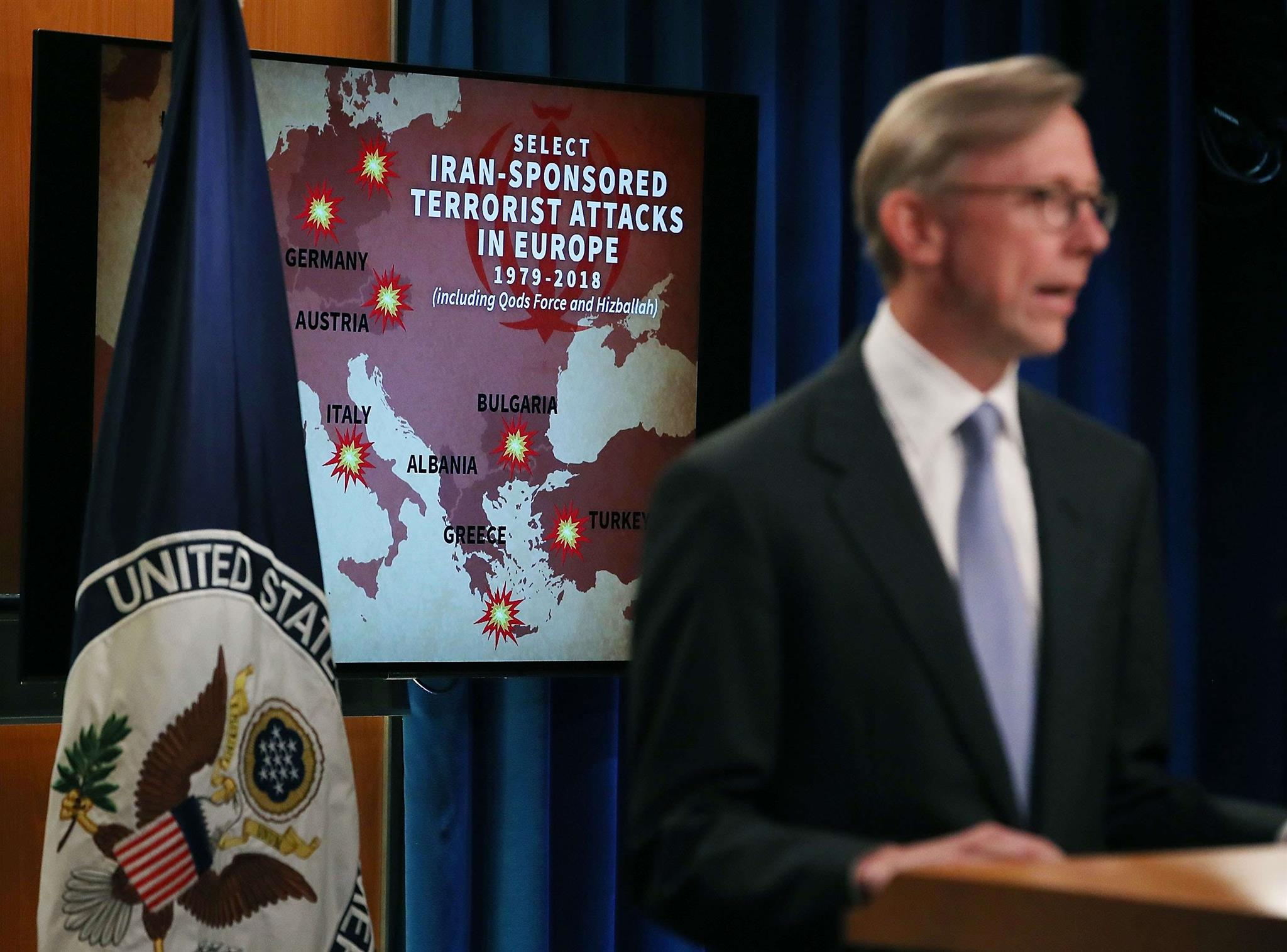 Tough talk. Director of Policy Planning Brian Hook speaks to the media about Iran at the US Department of State, on June 2. (AFP)