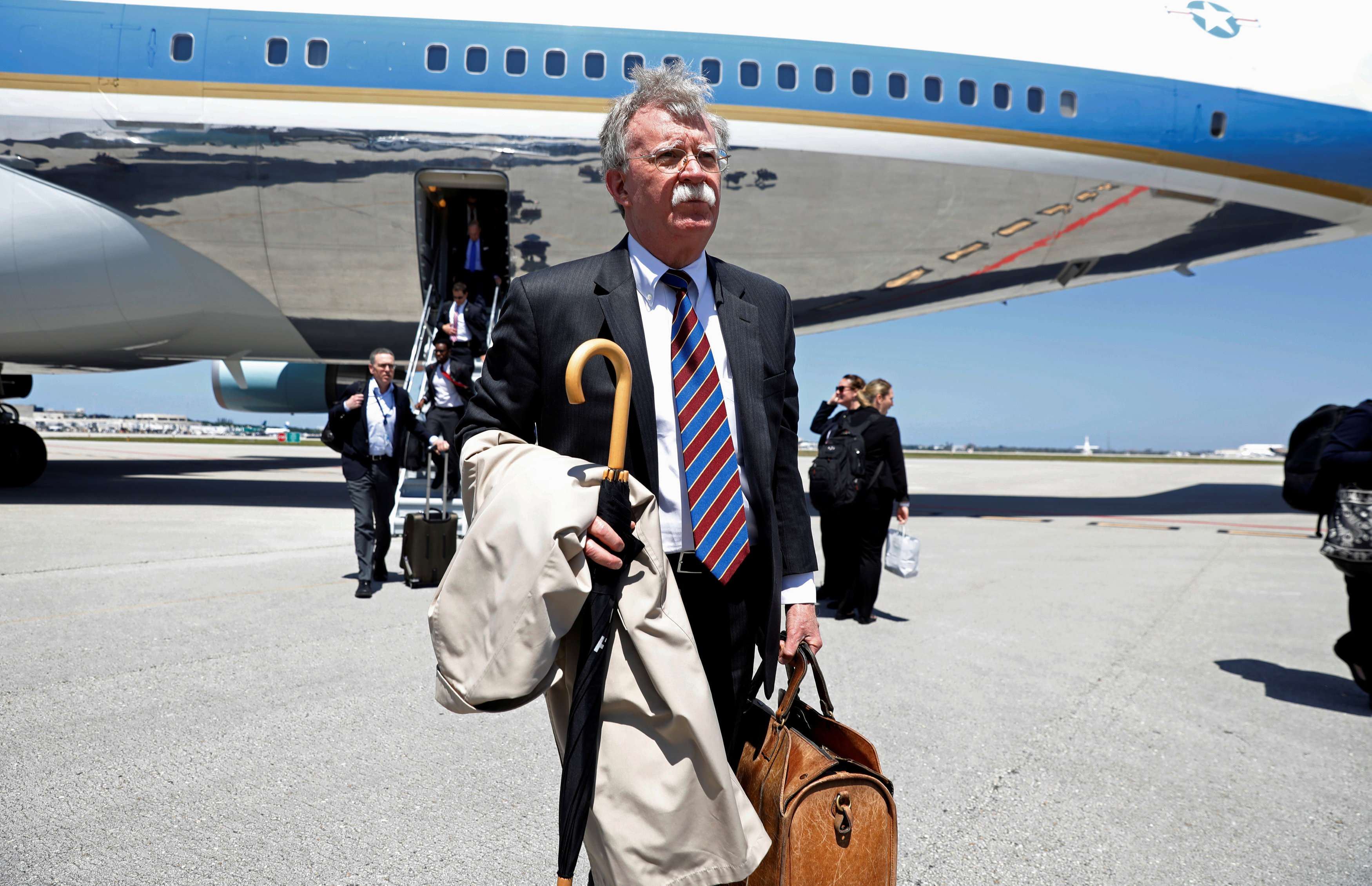 US national security adviser John Bolton steps from Air Force One upon arrival in West Palm Beach, Florida, last  April 16. (Reuters)