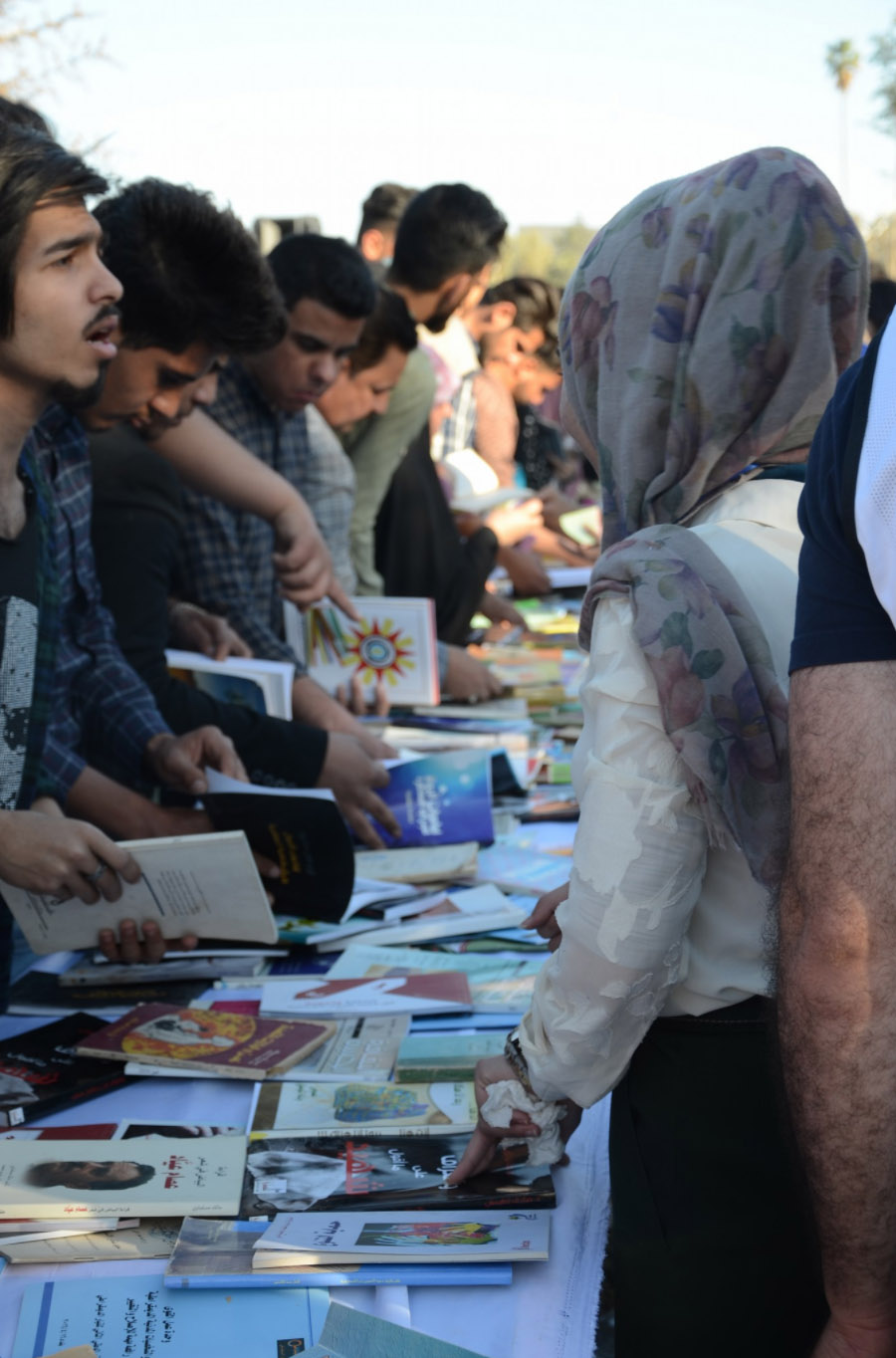"Large turnout. Visitors at the ""Ishtar Reads"" festival in the southern city of Hilla, last March.                                         (Ishtar Reads)"