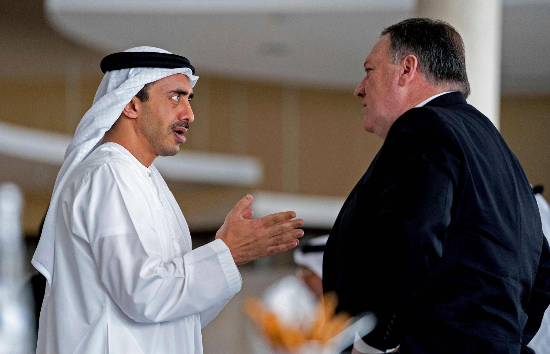 US Secretary of State Mike Pompeo (R) and UAE Foreign Minister Sheikh Abdullah bin Zayed Al Nahyan in Abu Dhabi, on July 10. (AFP)