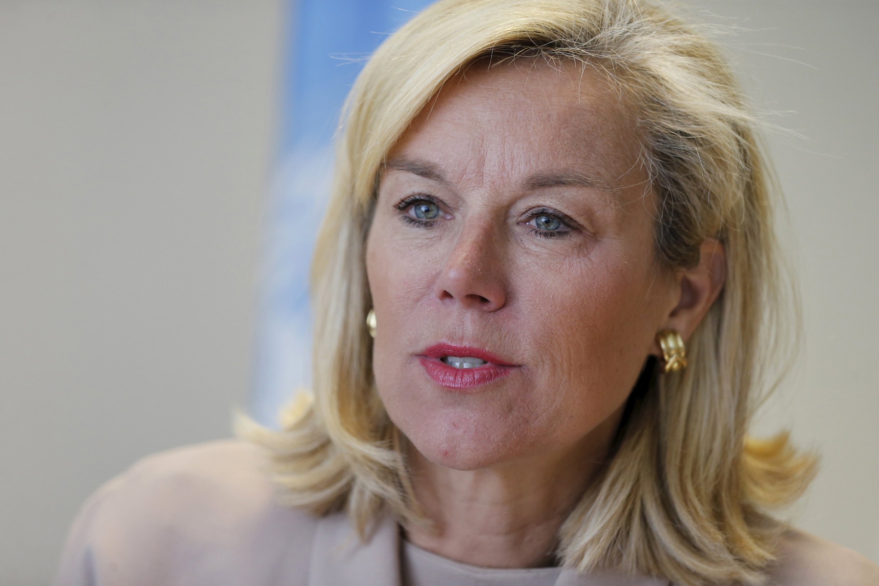 Dutch Minister for Foreign Trade and Development Cooperation Sigrid Kaag during an interview in Beirut. (Reuters)