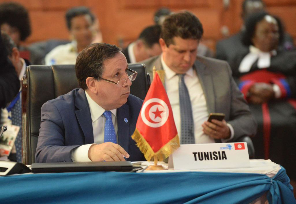Tunisian Foreign Minister Khemaies Jhinaoui attends the ECOWAS summit in Zambia. (Madagascar Presidency)