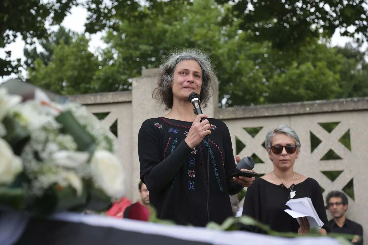 A 2017 file picture shows Syrian actress May Skaf delivering a speech in Montreuil, east of Paris. (AFP)