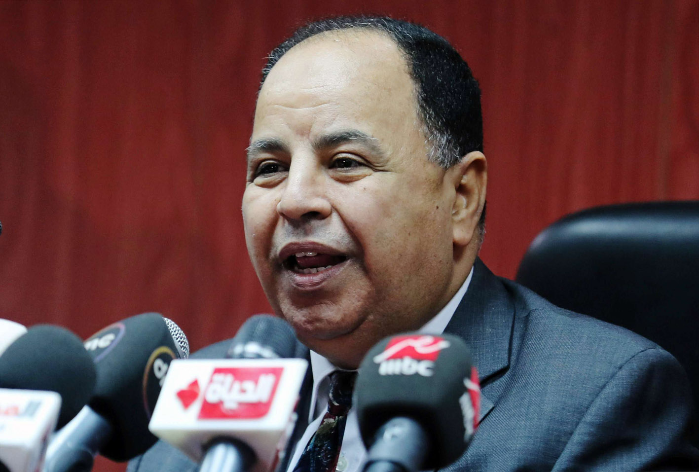 Allaying fears. Egyptian Finance Minister Mohamed Maait speaks during a news conference in Cairo.                                                                                (Reuters)
