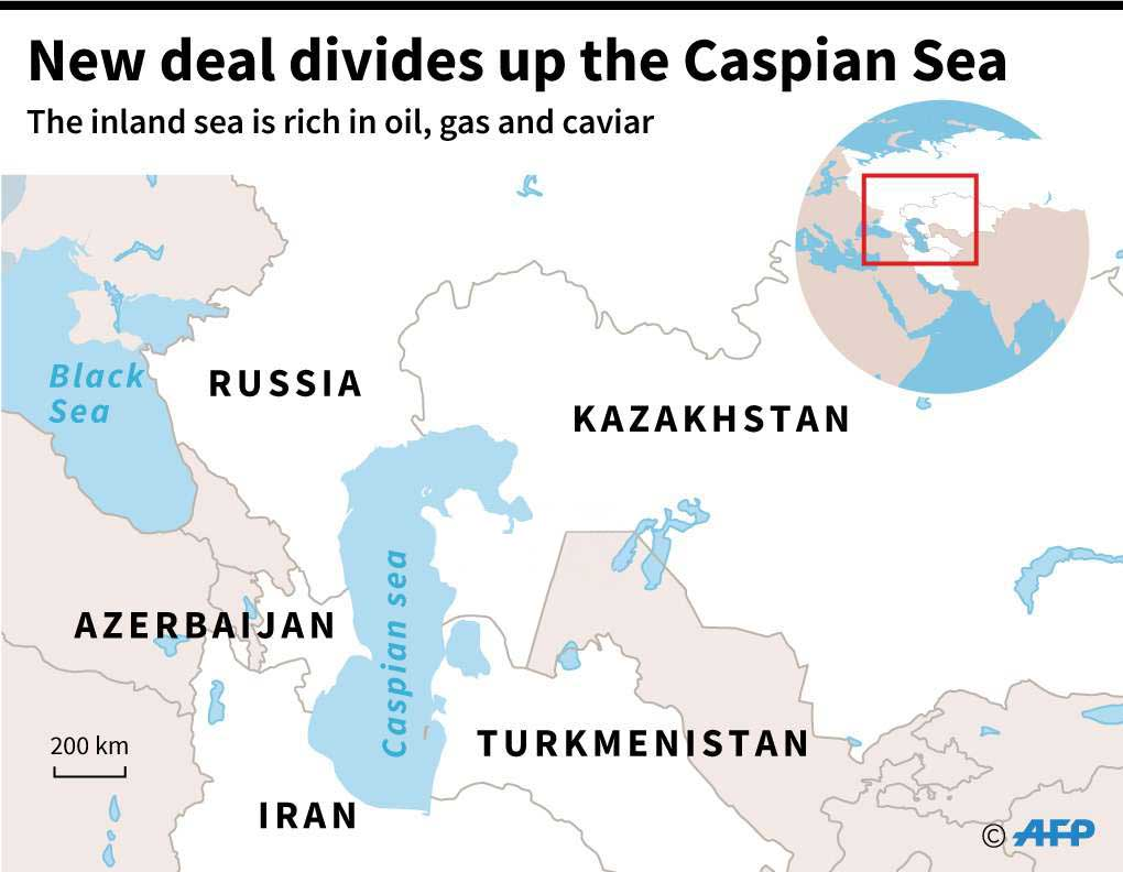 A map shows the Caspian Sea and Central Asia. (AFP)