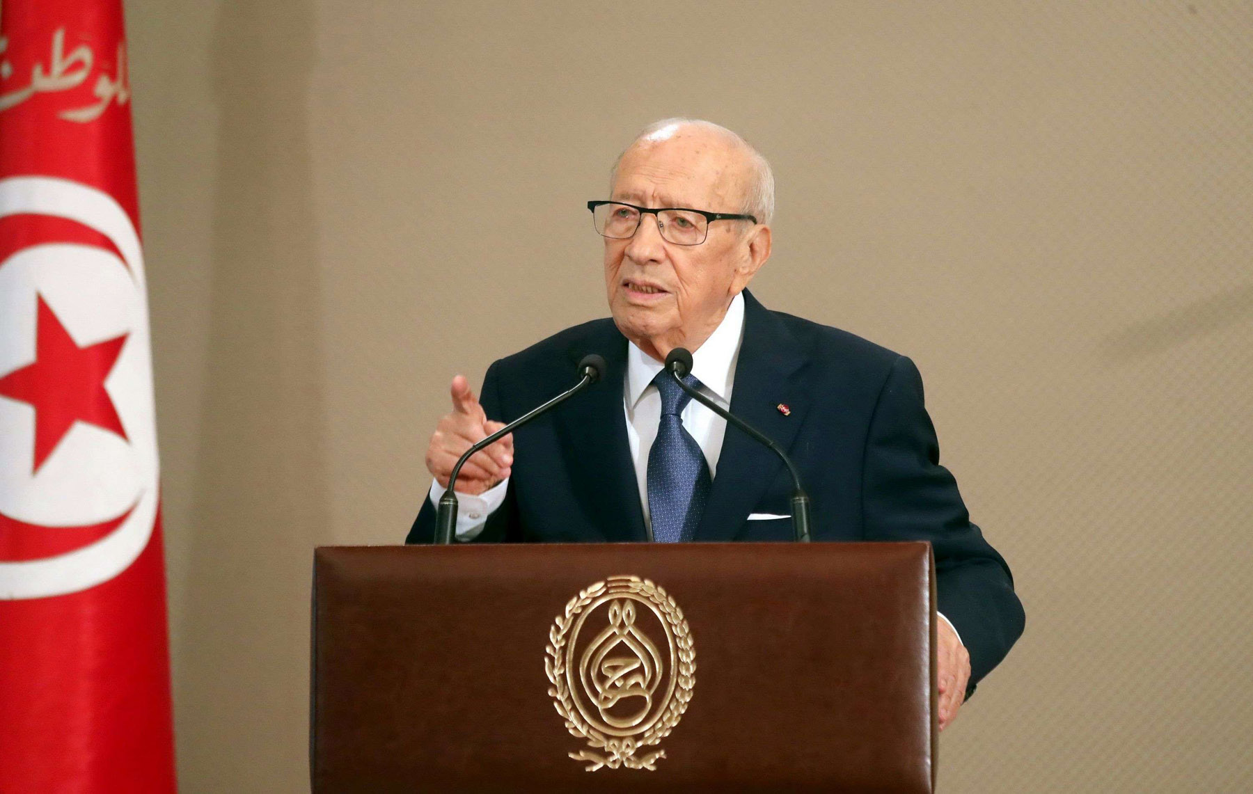 With an eye on the future. Tunisian President Beji Caid Essebsi delivers a speech after a meeting with members of the Individual Freedoms and Equality Commission  (COLIBE), on August 13.   (Tunisian Presidency)
