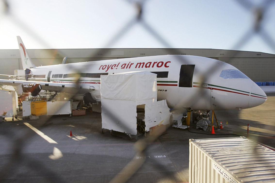 Passing turbulence. A Royal Air Maroc 787 Dreamliner jet sits on the tarmac.                                  (Reuters)