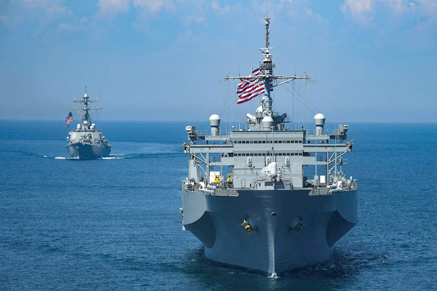 The US Navy Arleigh Burke-class guided-missile destroyer USS Porter and the Blue Ridge-class command and control ship USS Mount Whitney sail in formation during maritime exercise in the Black Sea, on July 13.  (Reuters)