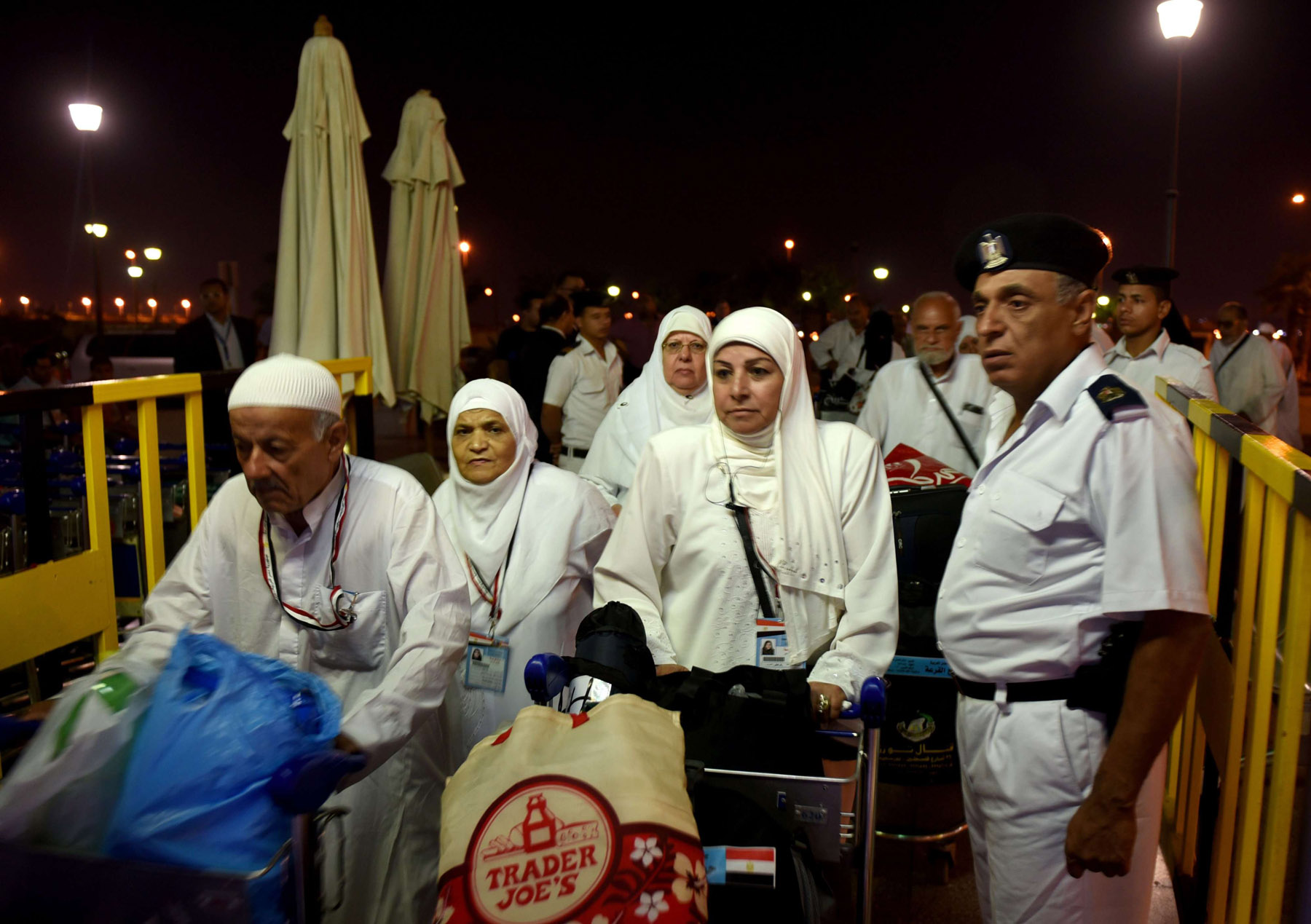 A dear wish. Egyptian pilgrims arrive at the Cairo International Airport for departure to the haj in Mecca and Medina in Saudi Arabia. 	(AFP)