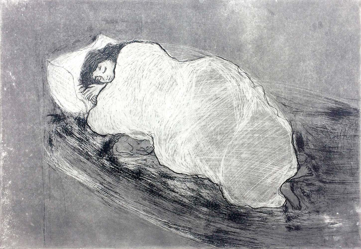A drawing by Azza Abo Rebieh that is inspired by her time in prison in Damascus. (Galerie Alice Mogabgab)