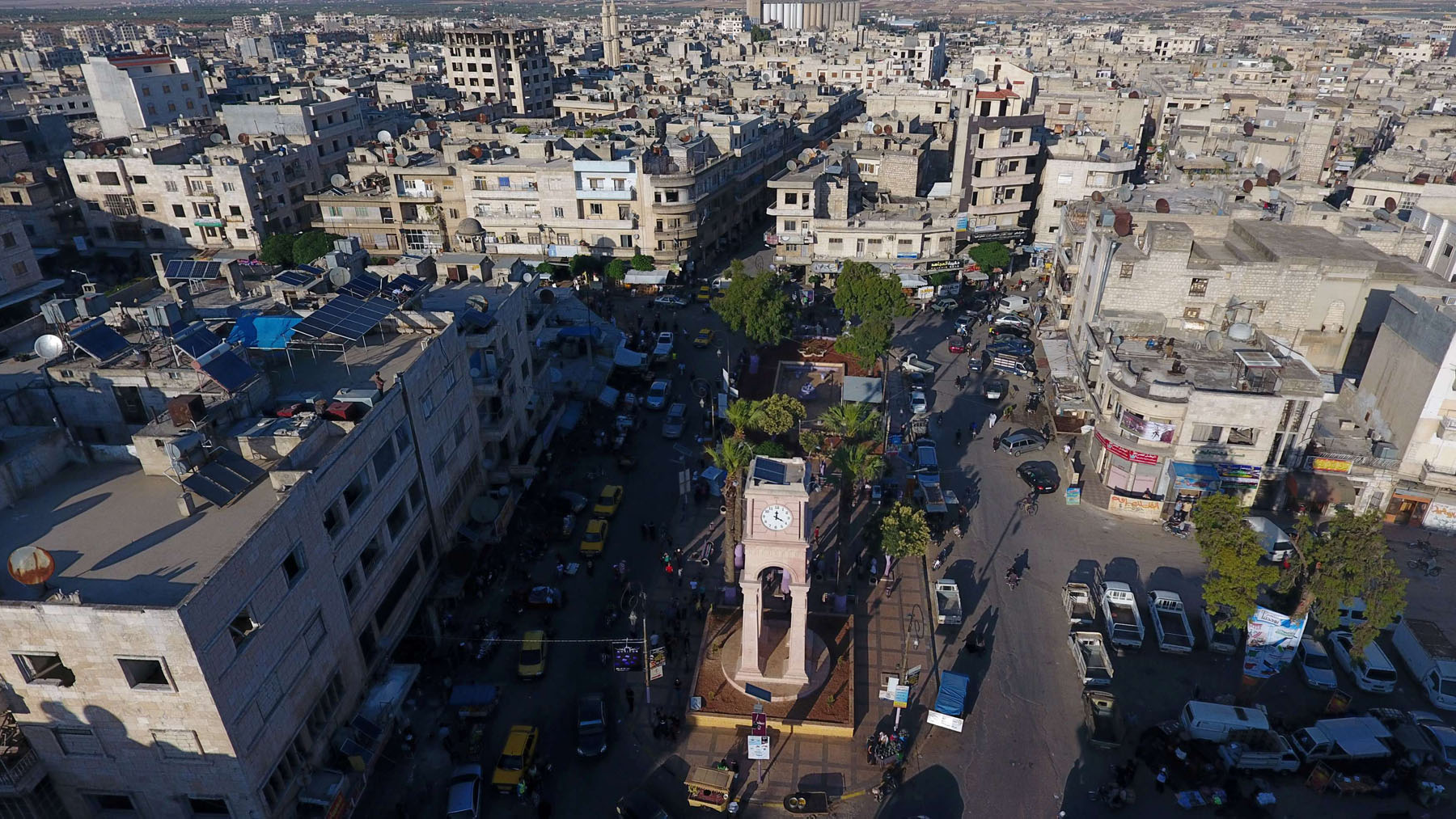A general view taken with a drone shows the Clock Tower of the rebel-held Idlib city, Syria June 8, 2017. Picture taken June 8, 2017. (Reuters)