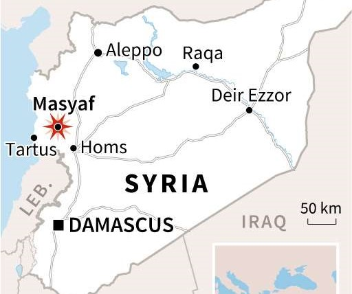 A map locating the Syrian town of Masyaf. (AFP)