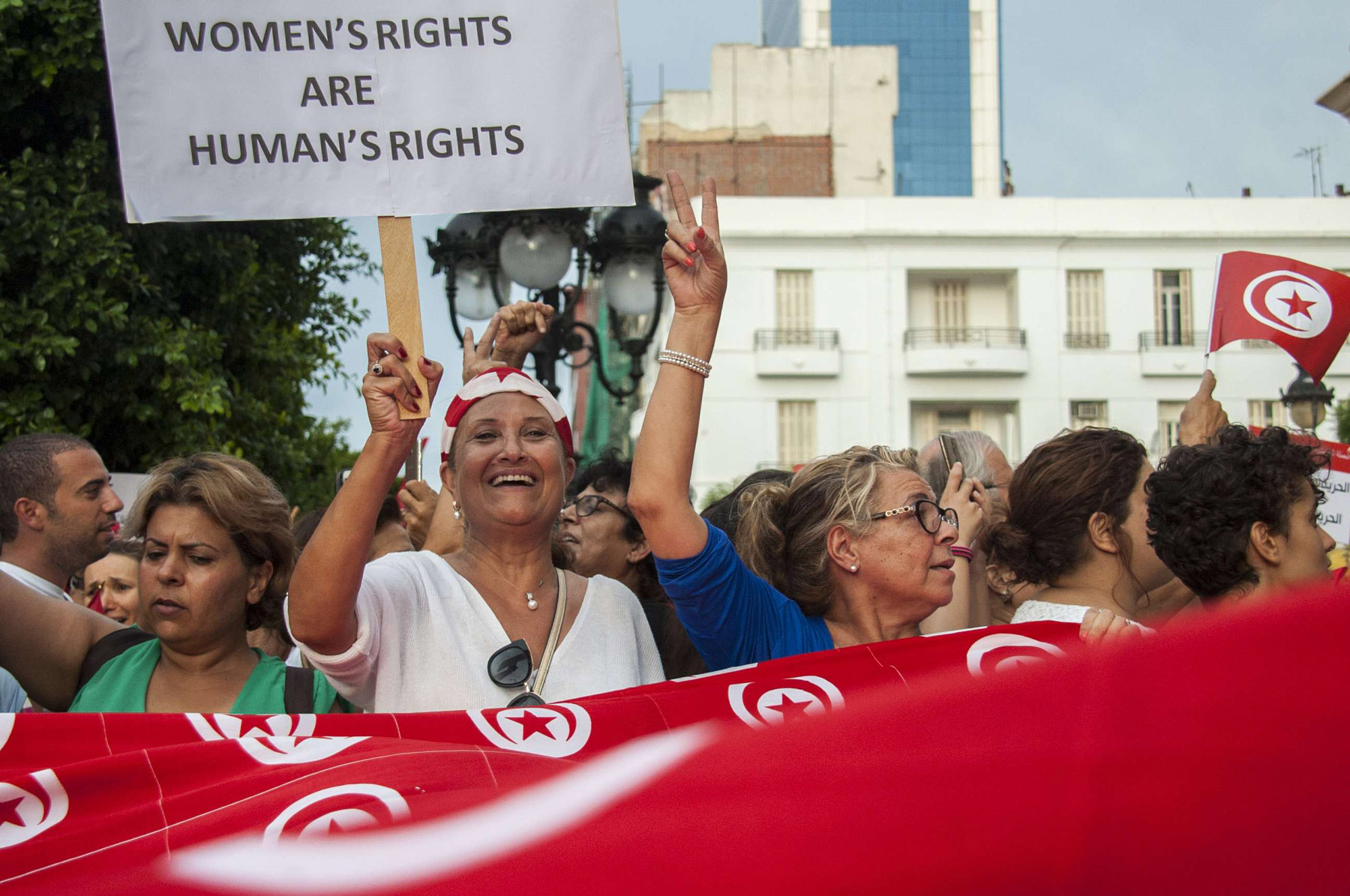 Tunisian women demonstrate for equal rights in Tunis, Monday, Aug.13, 2018. (AP)