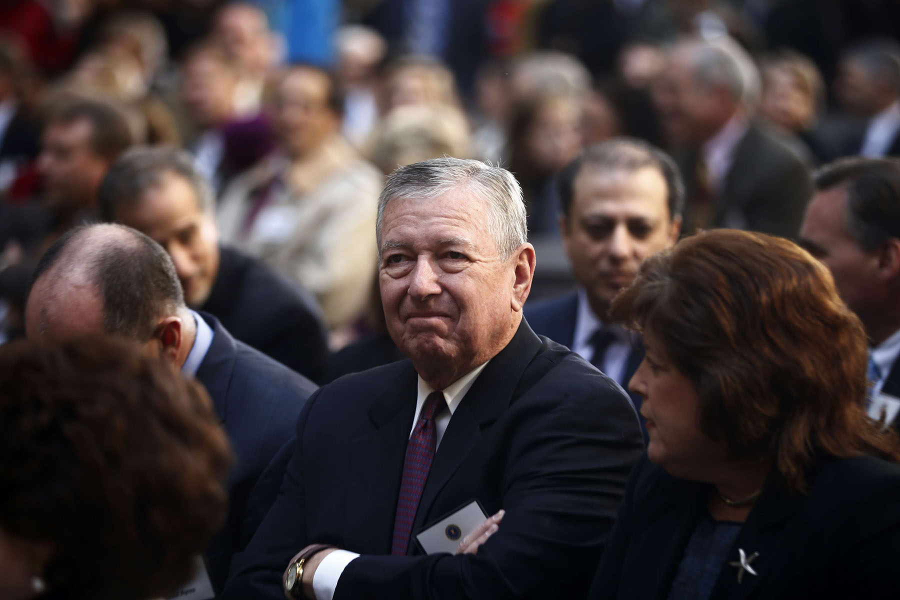 Guns for hire. A file photo shows former US Attorney General John Ashcroft (C) attending a ceremony in Washington. Qatar has hired Ashcroft's law firm for $2.5 million to audit its efforts at stopping terrorism funding. 	  (AP)