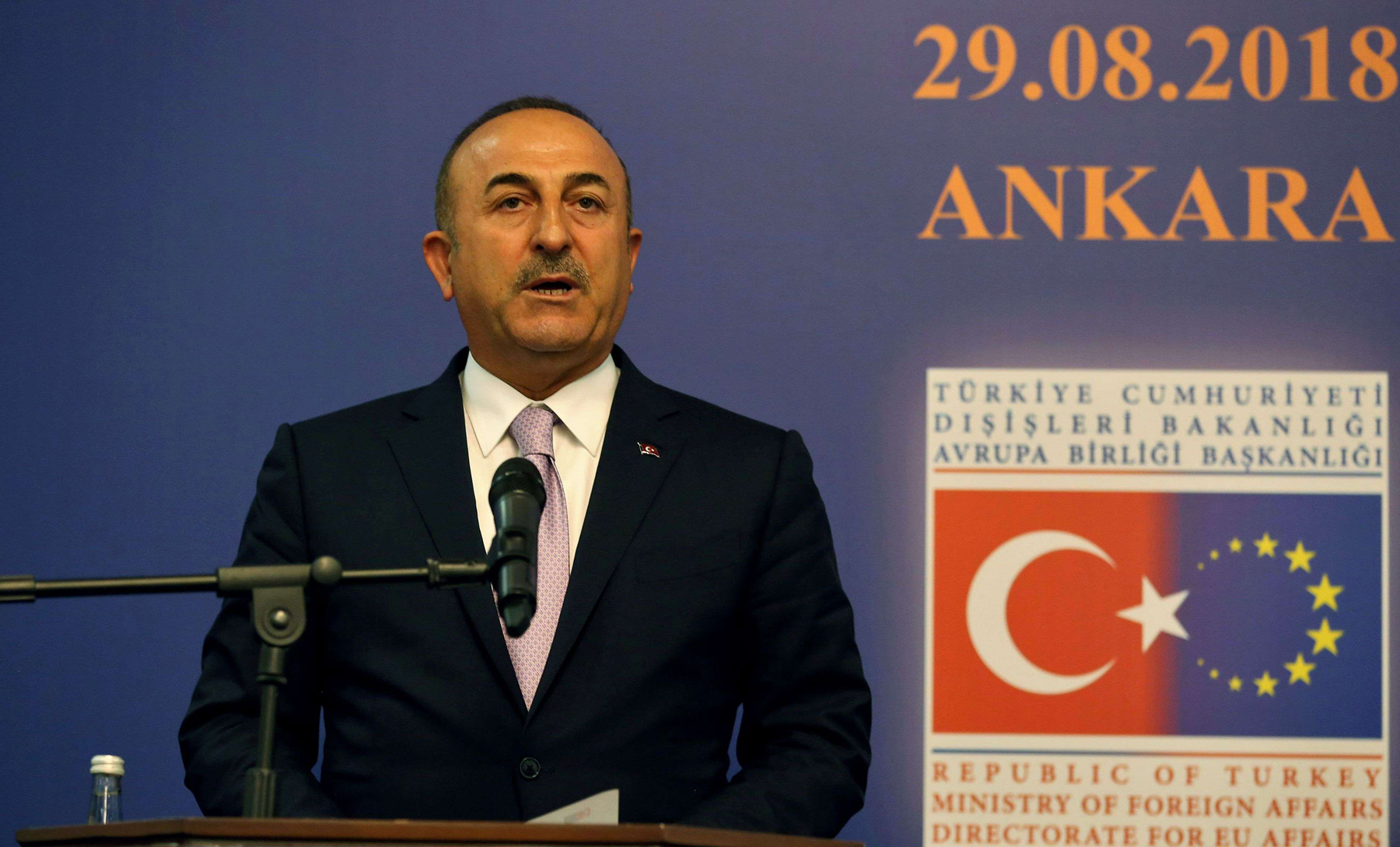 "Turkish Foreign Minister Mevlut Cavusoglu speaks during a news conference after a ""Reform Action Group"" meeting in Ankara, on August 29. (AFP)"