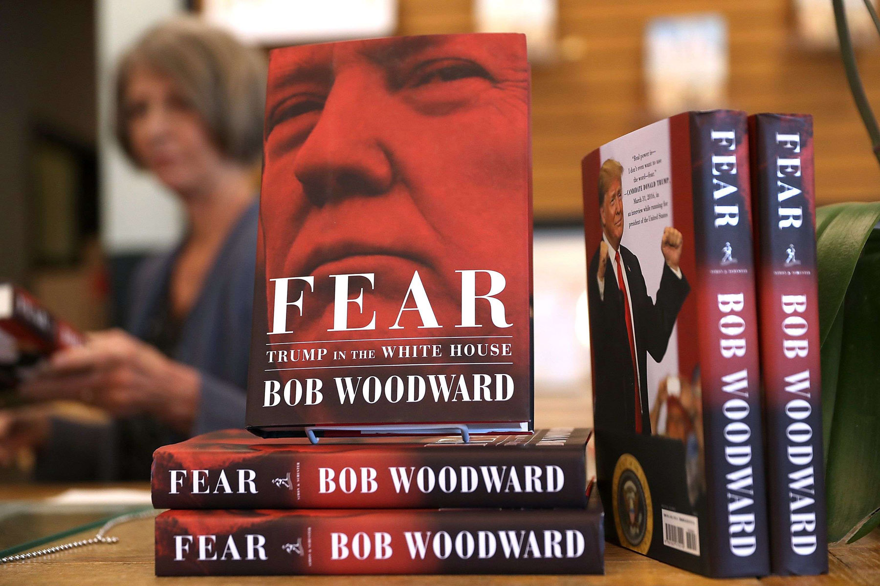 "Copies of ""Fear: Trump in the White House"" by Bob Woodward on display at Book Passage in Corte Madera in California. 		    (AFP)"