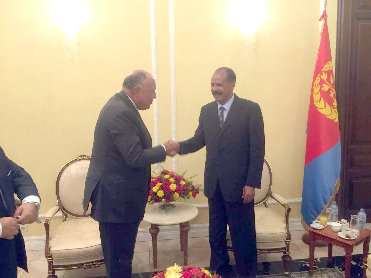 Egyptian Foreign Minister Sameh Shoukry (L) meets with Eritrean President Isaias Afwerki, on September 13. (Egyptian Foreign Ministry)