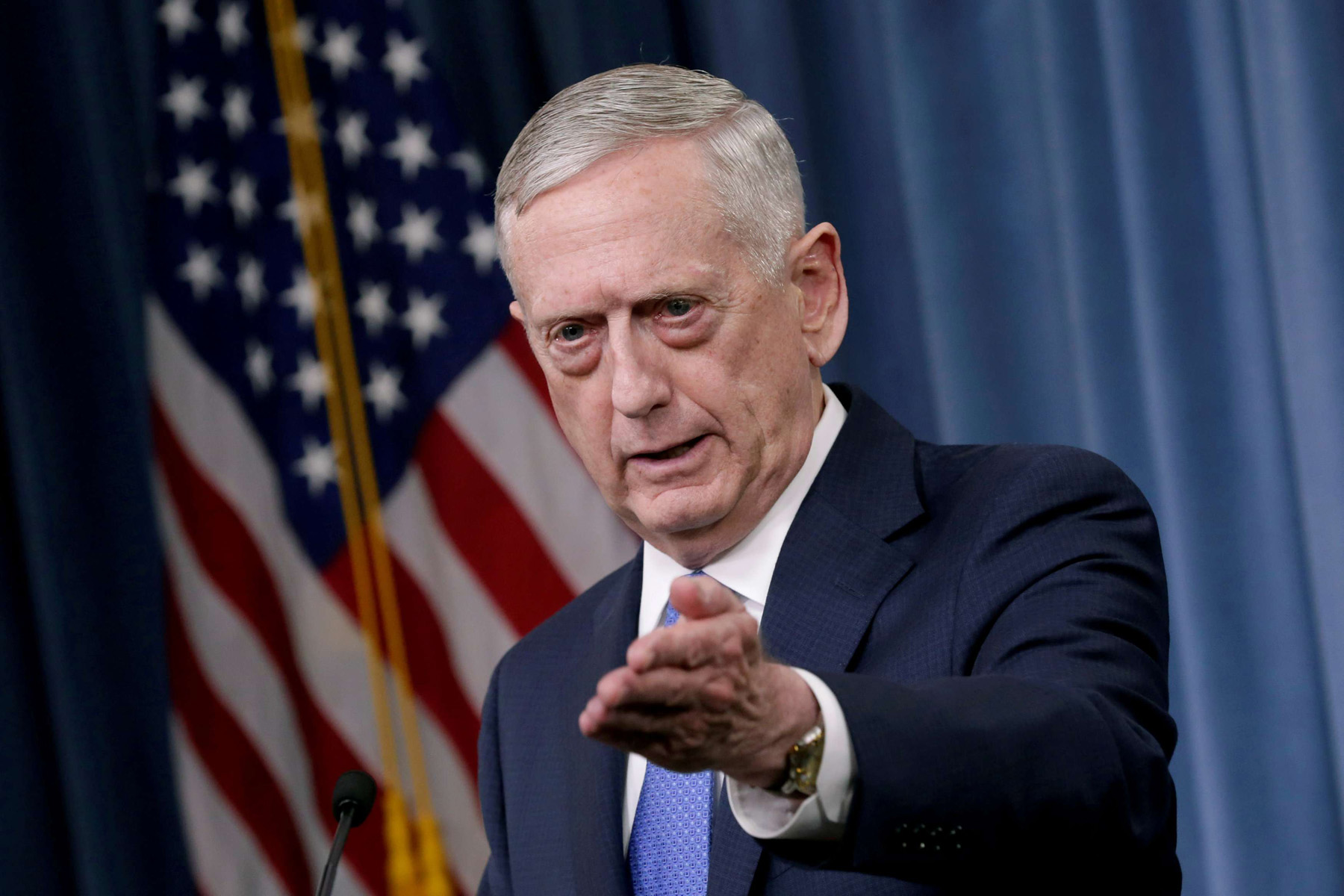 US Defense Secretary James Mattis at a news briefing at the Pentagon in Washington. (Reuters)