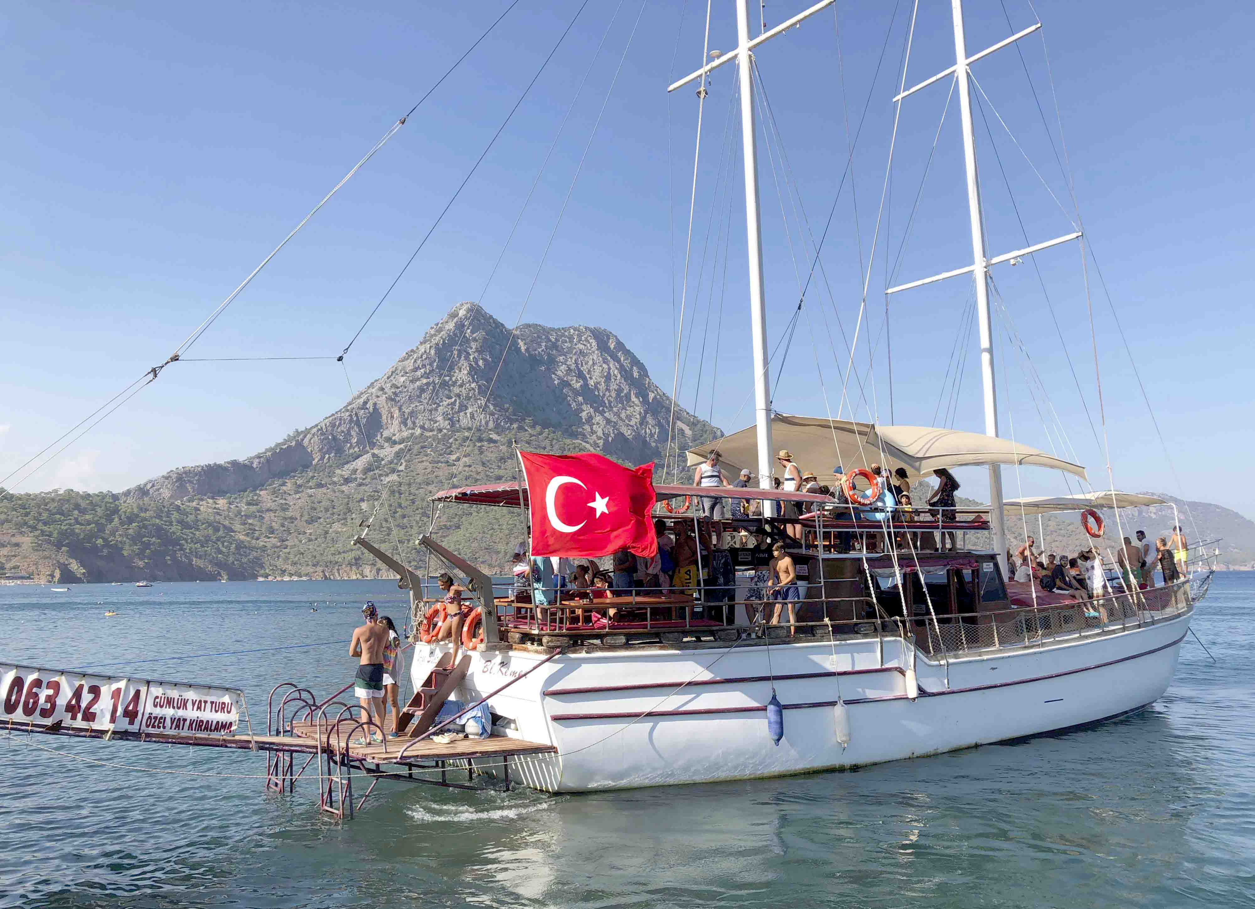 A tourist boat sails in the Mediterranean in Adrasan, 100kms west of Antalya. (AP)
