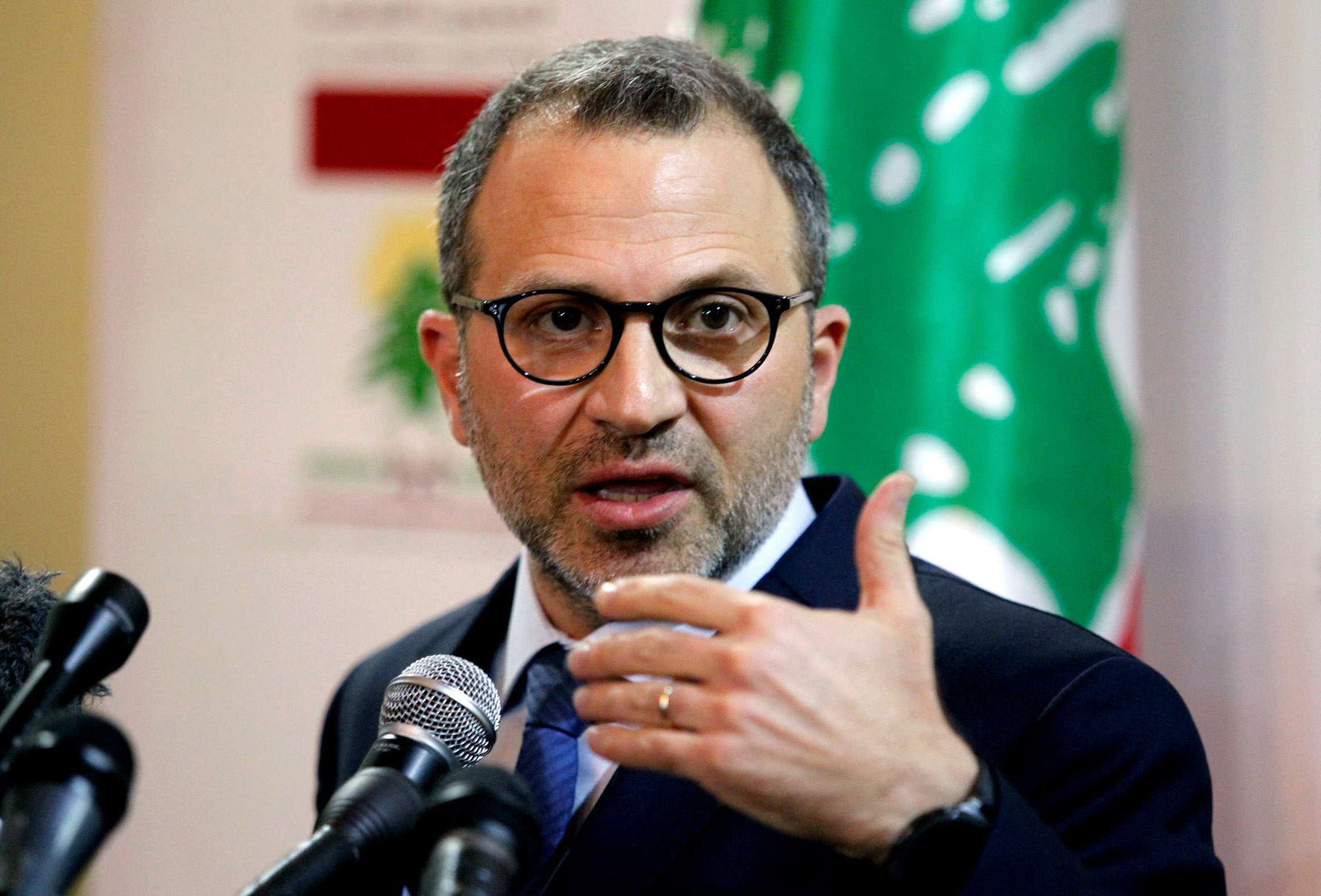 Lebanon's Foreign Minister Gebran Bassil speaks during a news conference in Beirut, last June. (Reuters)
