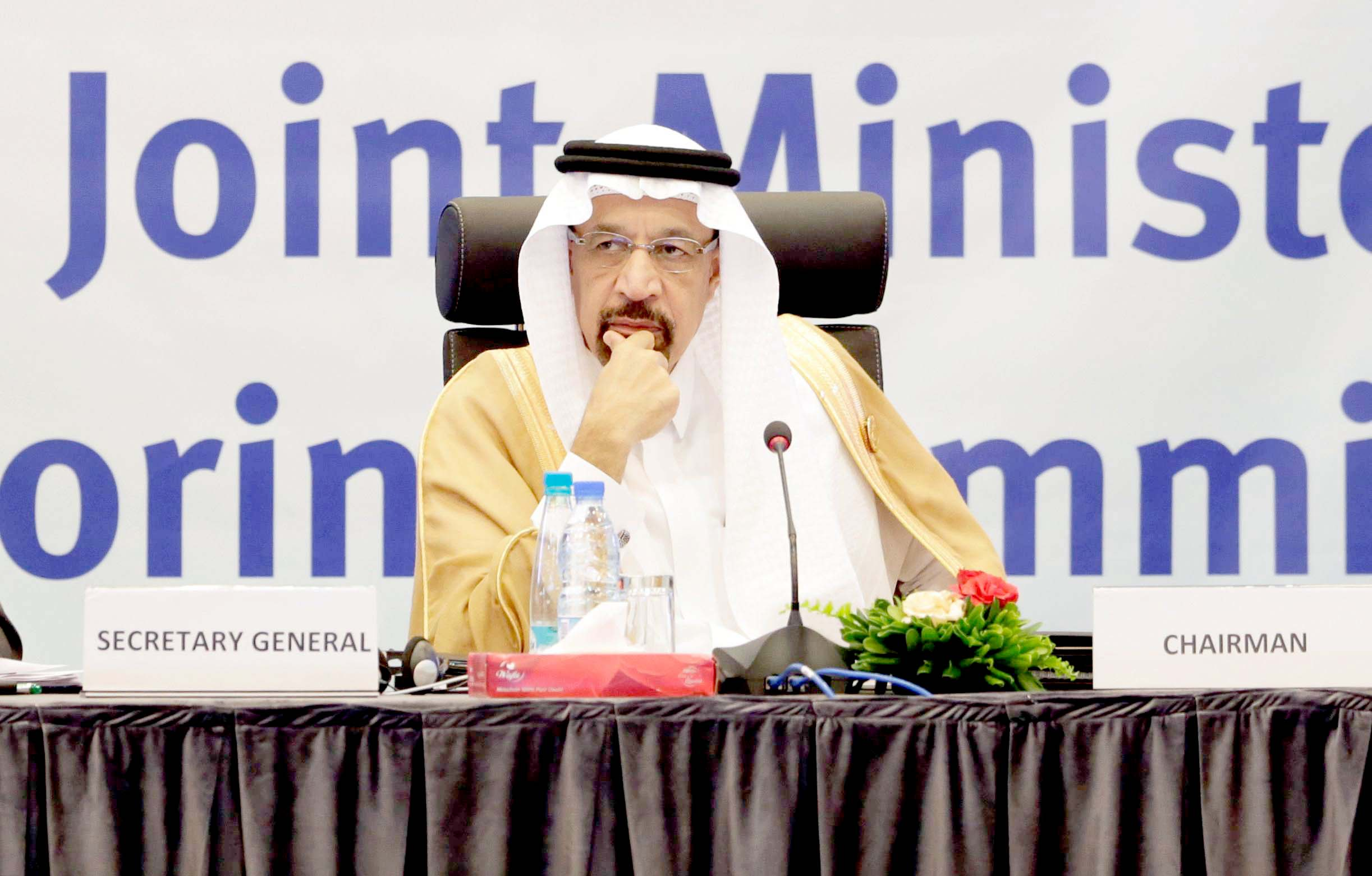 Saudi Energy Minister Khalid al-Falih at the inaugural session ceremony of the OPEC Ministerial Monitoring Committee in Algiers, on September 23. (Reuters)