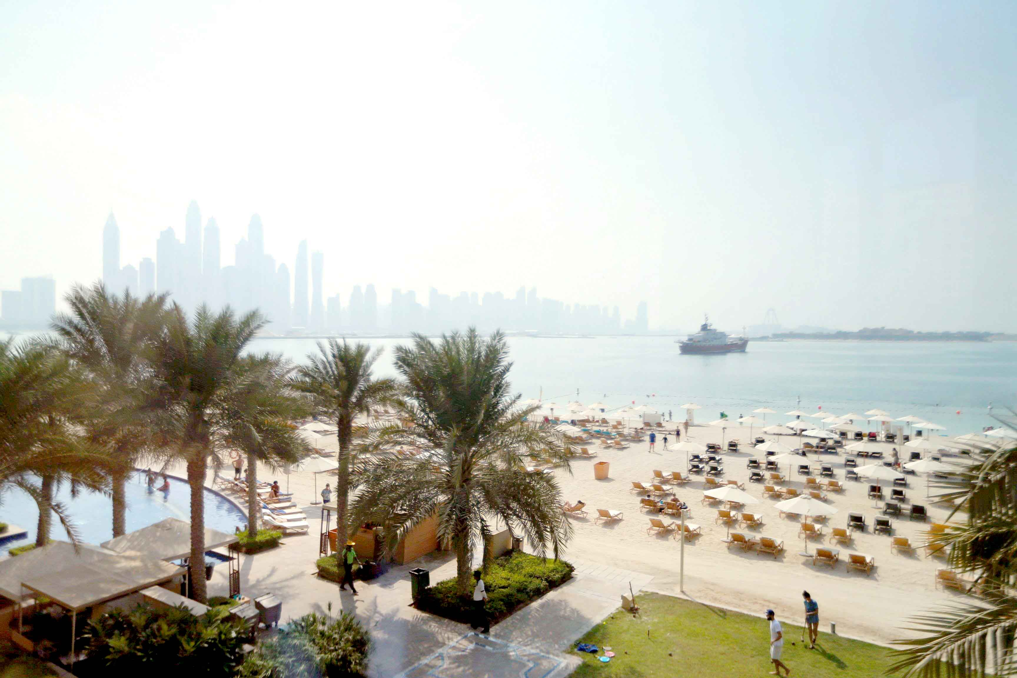 A view at the Palm Beach hotel with the Dubai skyline in the background. (Karim Sahib)