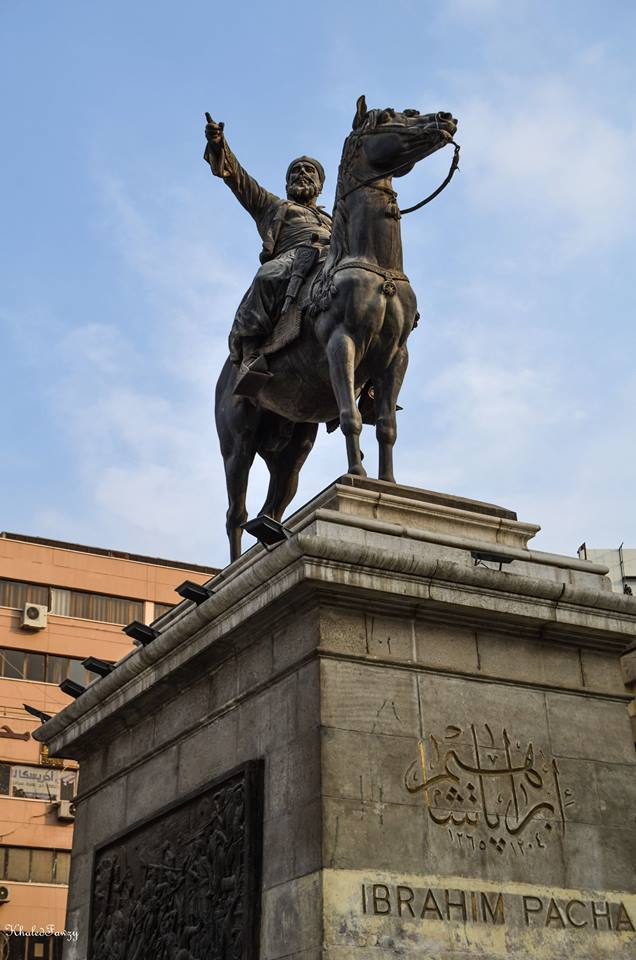 The statue of Ibrahim Pasha, who ruled Egypt and Sudan in 1848, at the Opera Square in downtown Cairo.  (Saeed Shahat)