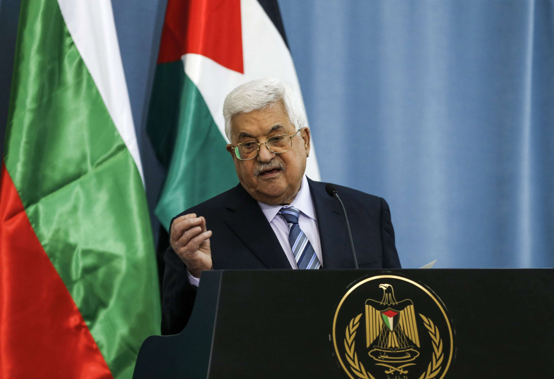 Palestinian Authority president Mahmoud Abbas speaks during a press conference in the West Bank city of Ramallah. (AFP)