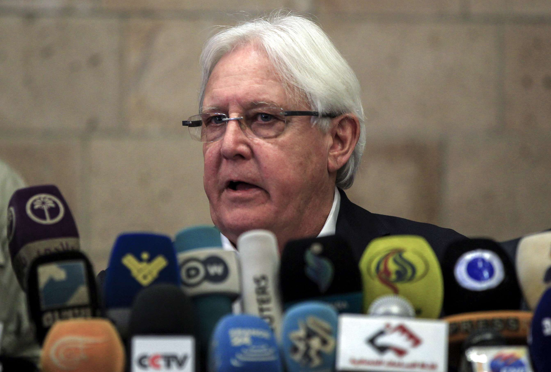 Complex task. Martin Griffiths, the UN special envoy for Yemen, speaks during a news conference in Sana'a, last July.                  (AFP)
