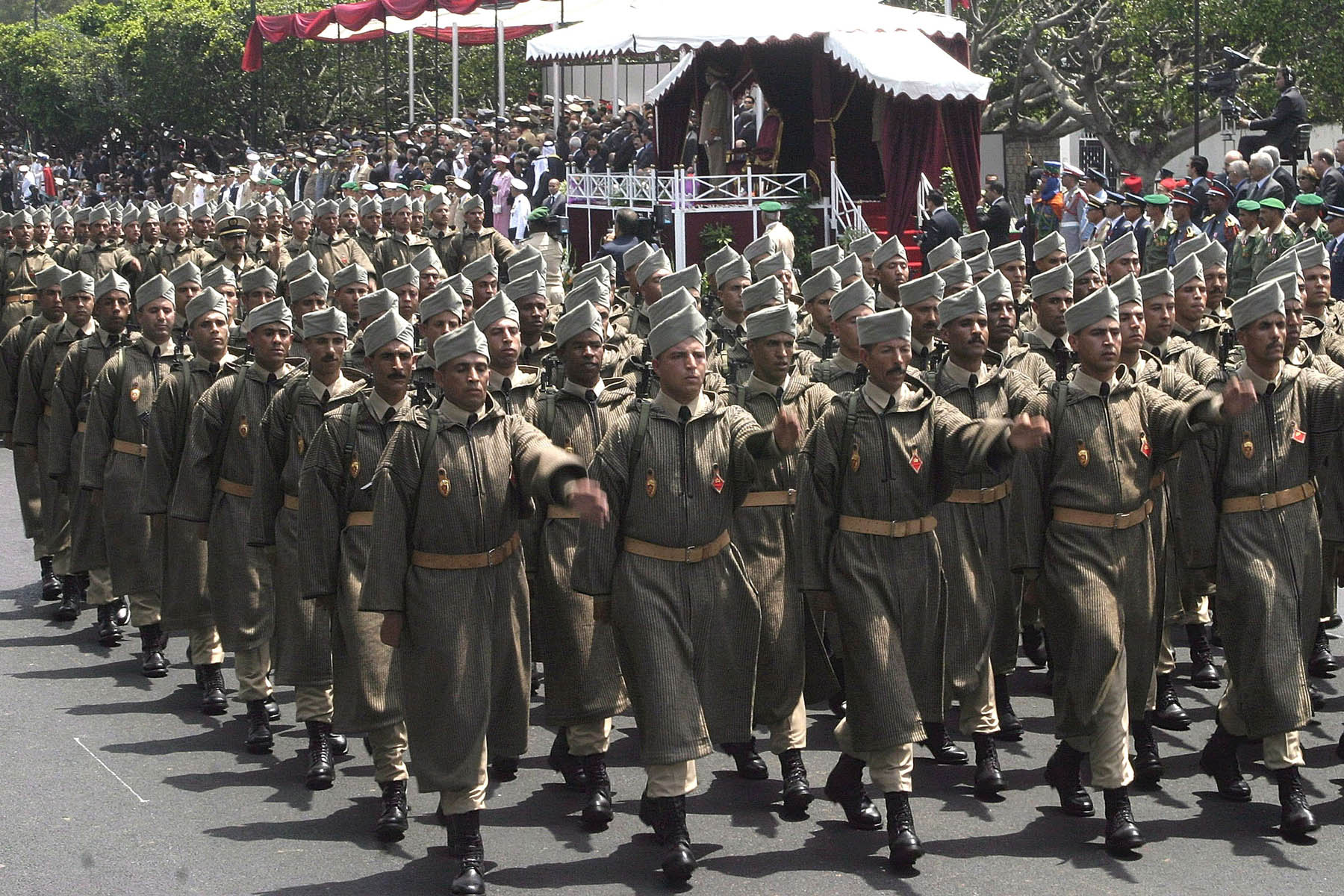 Addressing the youth issue. A file picture shows Moroccan Army soldiers parading during celebrations to mark the anniversary of the Moroccan Royal Armed Forces.			    (AP)