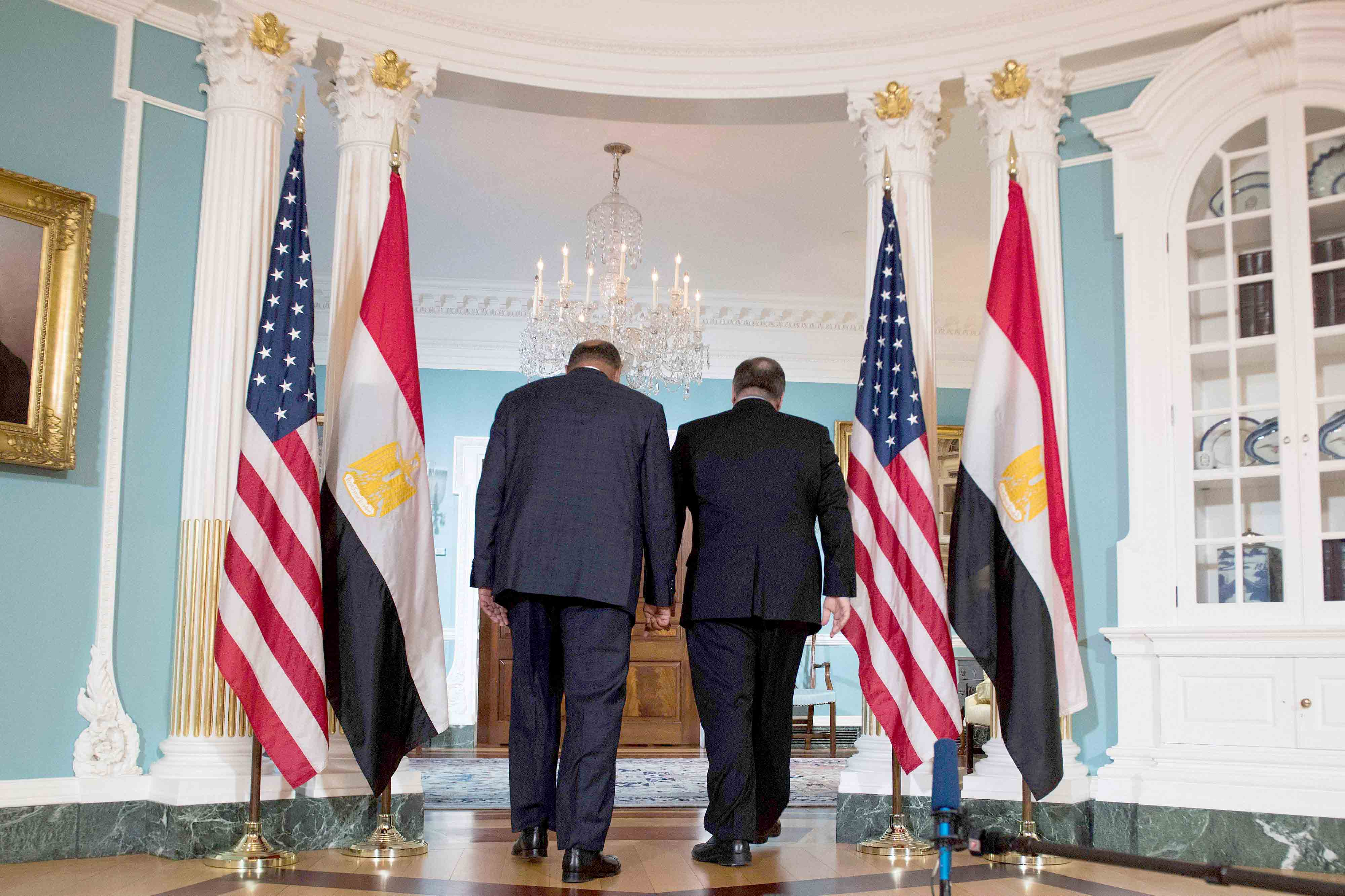 US Secretary of State Mike Pompeo (R) walks with Egyptian Foreign Minister Sameh Shoukry at the State Department in Washington, on August 8. (AFP)