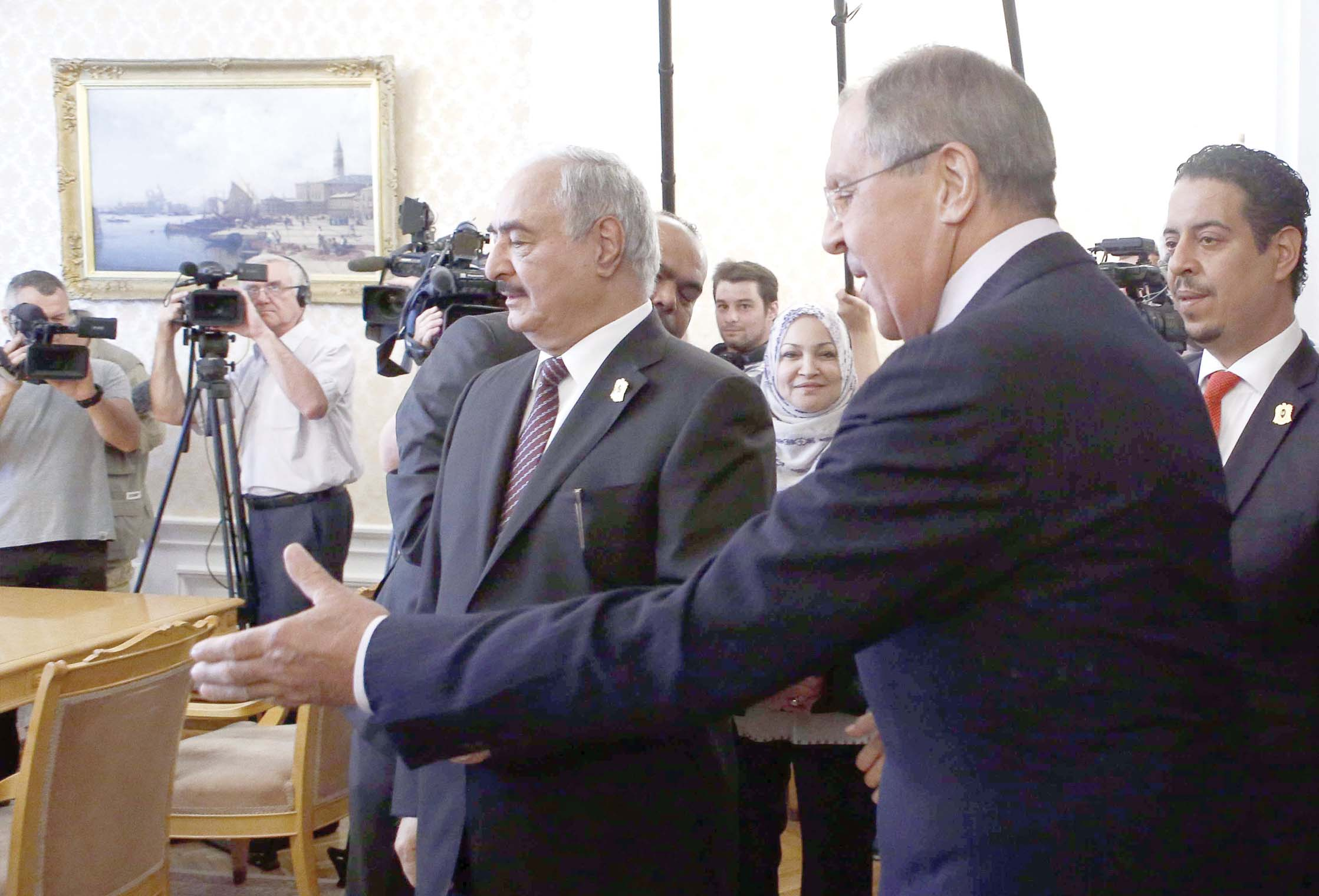 A 2017 file picture shows Russian Foreign Minister Sergei Lavrov and Libyan Field-Marshal Khalifa  Haftar (L) during a meeting in Moscow. (Reuters)