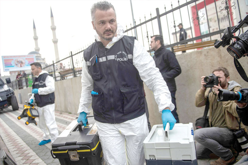 A hunt for clues. Forensic police officers arrive at an underground car park cordoned off by Turkish police after they found an abandoned car belonging to the Saudi Consulate in Istanbul, on October 23. (AFP)