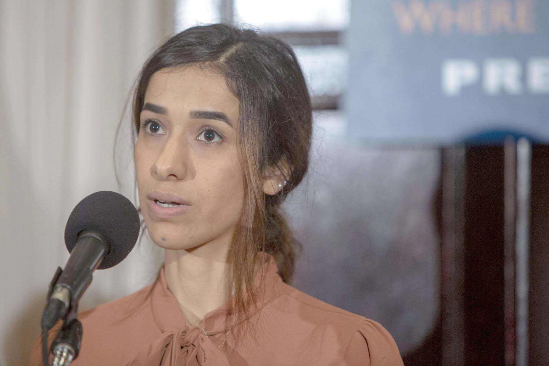 Nadia Murad, a 25-year-old Yazidi woman and co-recipient of the 2018 Nobel Peace Prize, speaks in Washington, on October 8.             (AFP)
