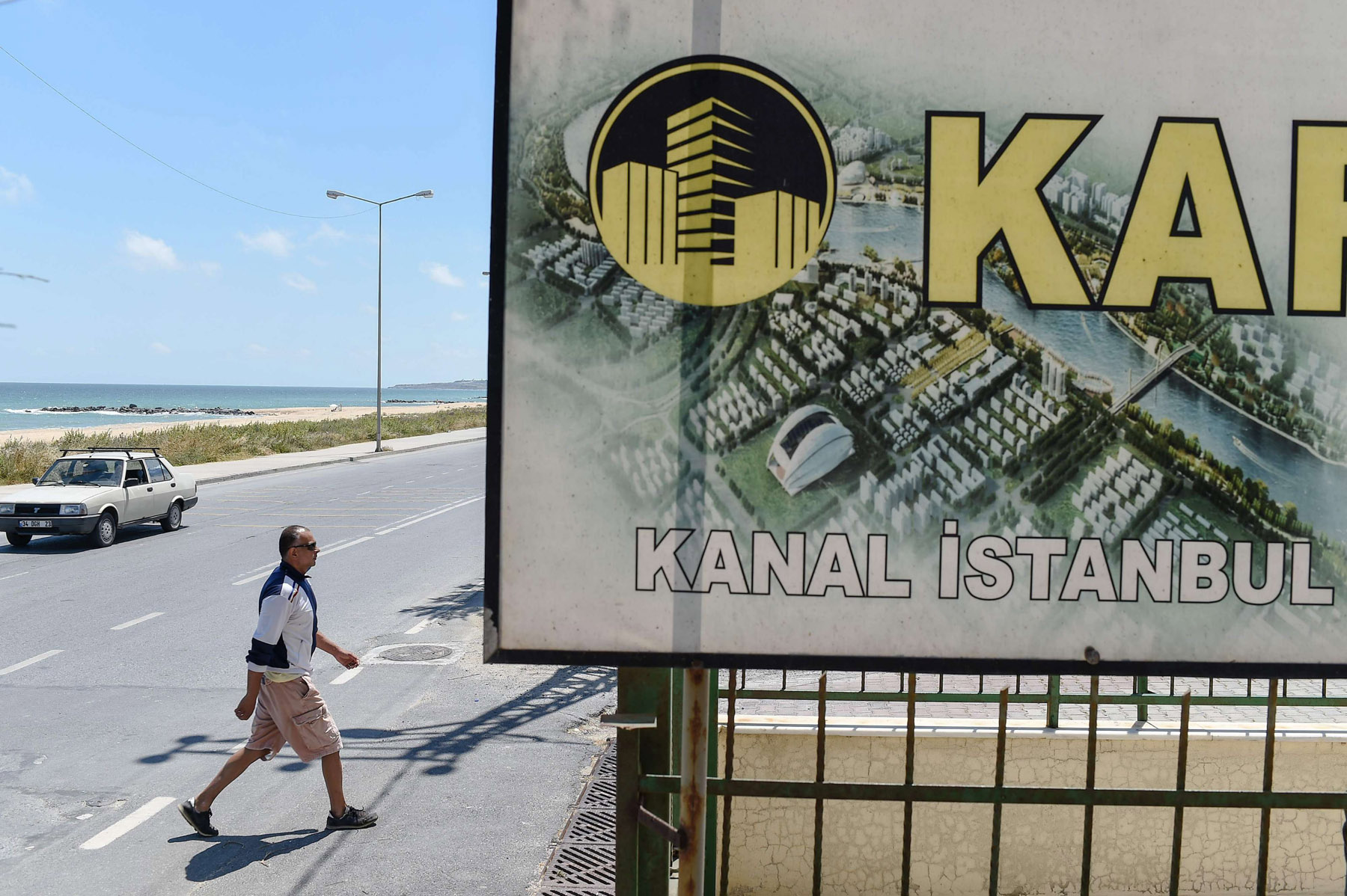 A real estate advertisement offers apartments with a view on the planned canal  near Istanbul, last June. (AFP)