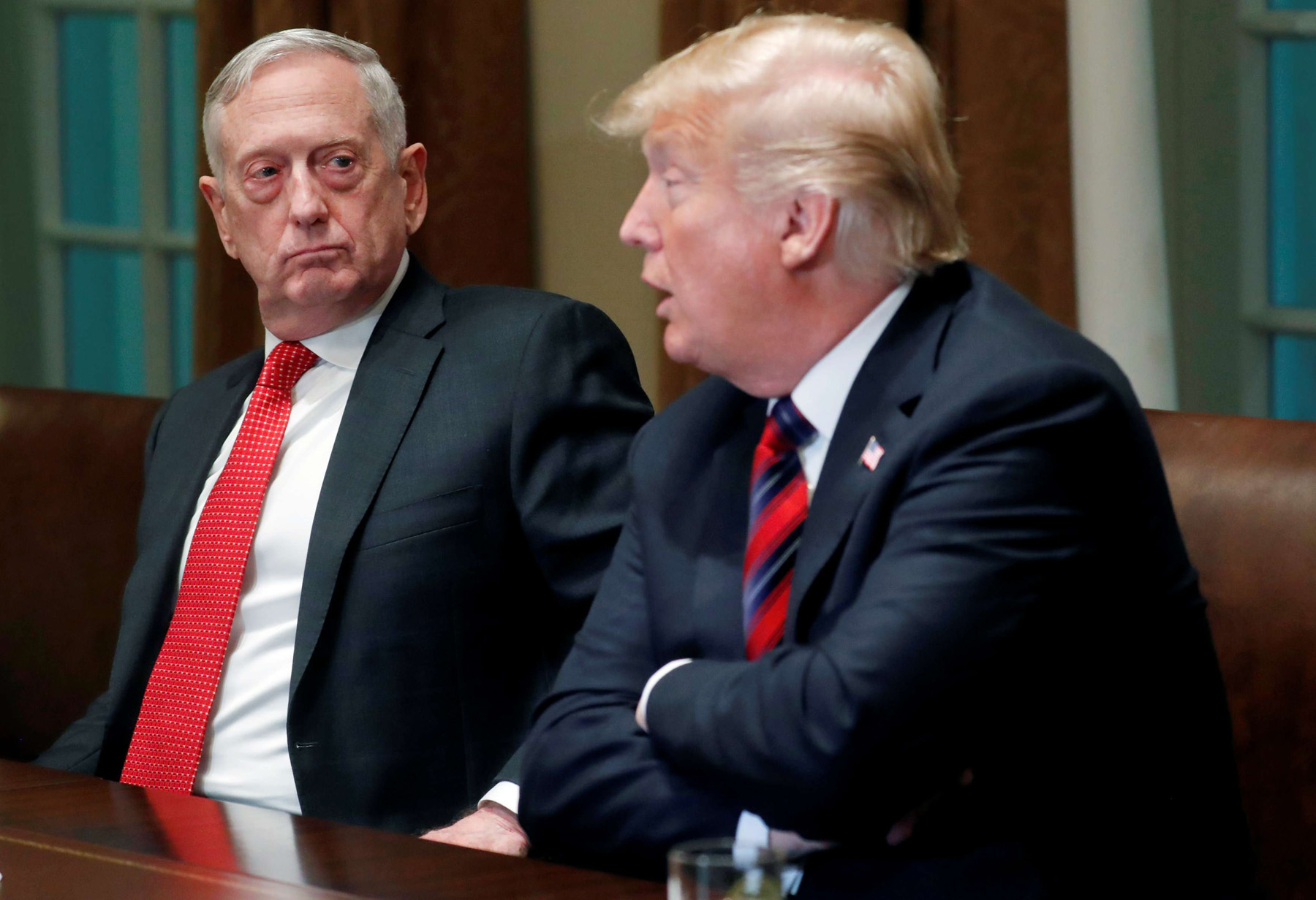 US Defense Secretary James Mattis listens (L) as US President Donald Trump speaks at the White House in Washington, on October 23. (Reuters)