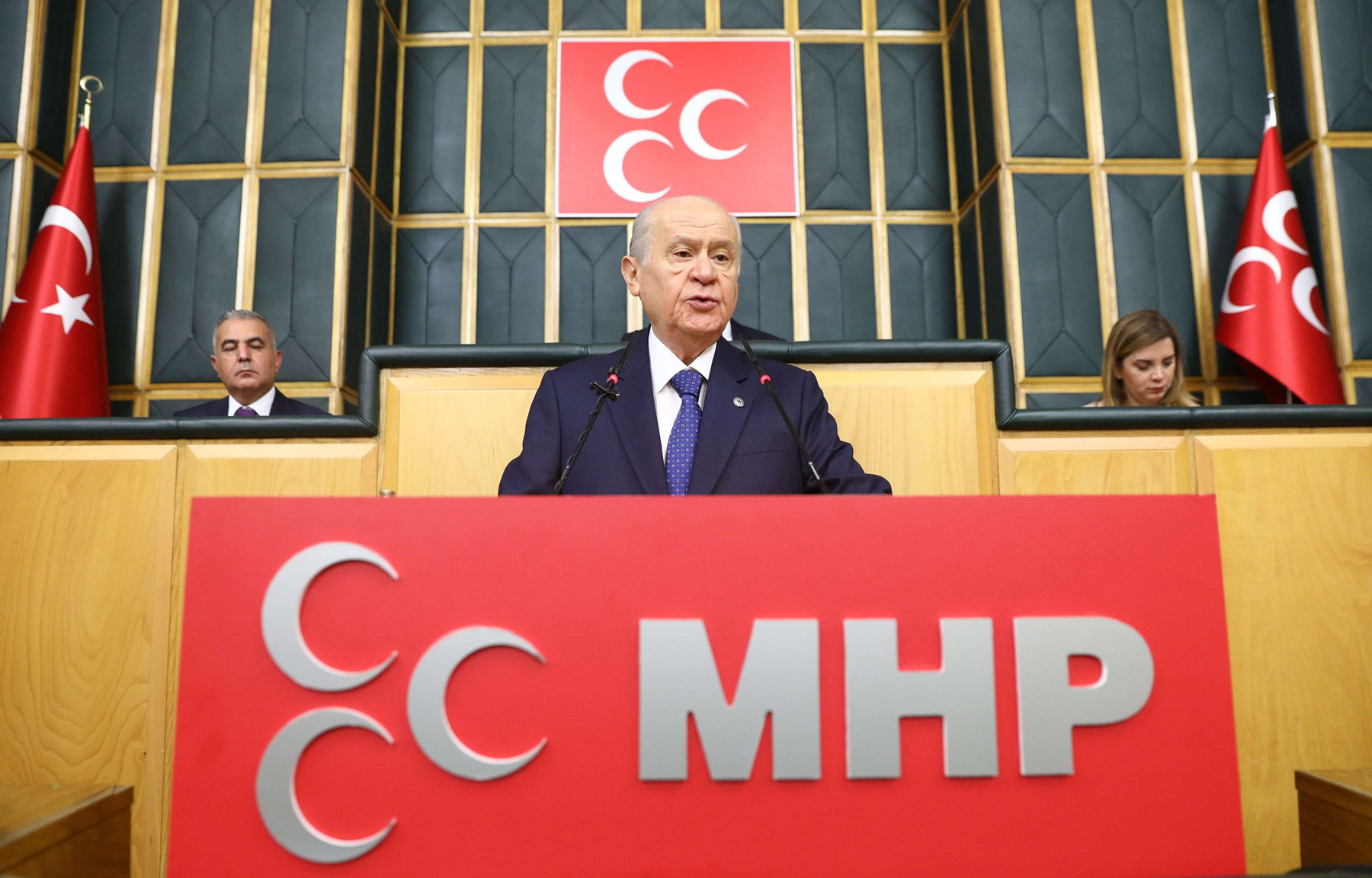 Turkey's Nationalist Movement Party's leader Devlet Bahceli speaks during a meeting in Ankara, on October 2. (AFP)