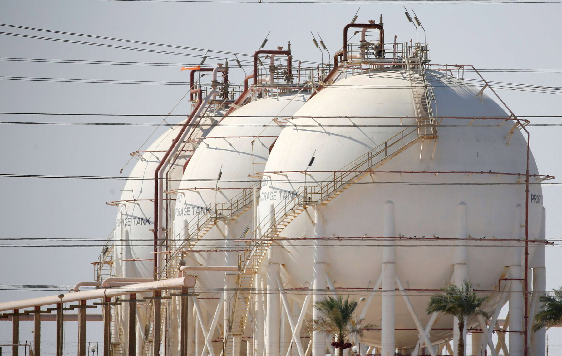 Within reach. A view of gas tanks at the desert road of Suez city, north of Cairo.                                                                                     (Reuters)