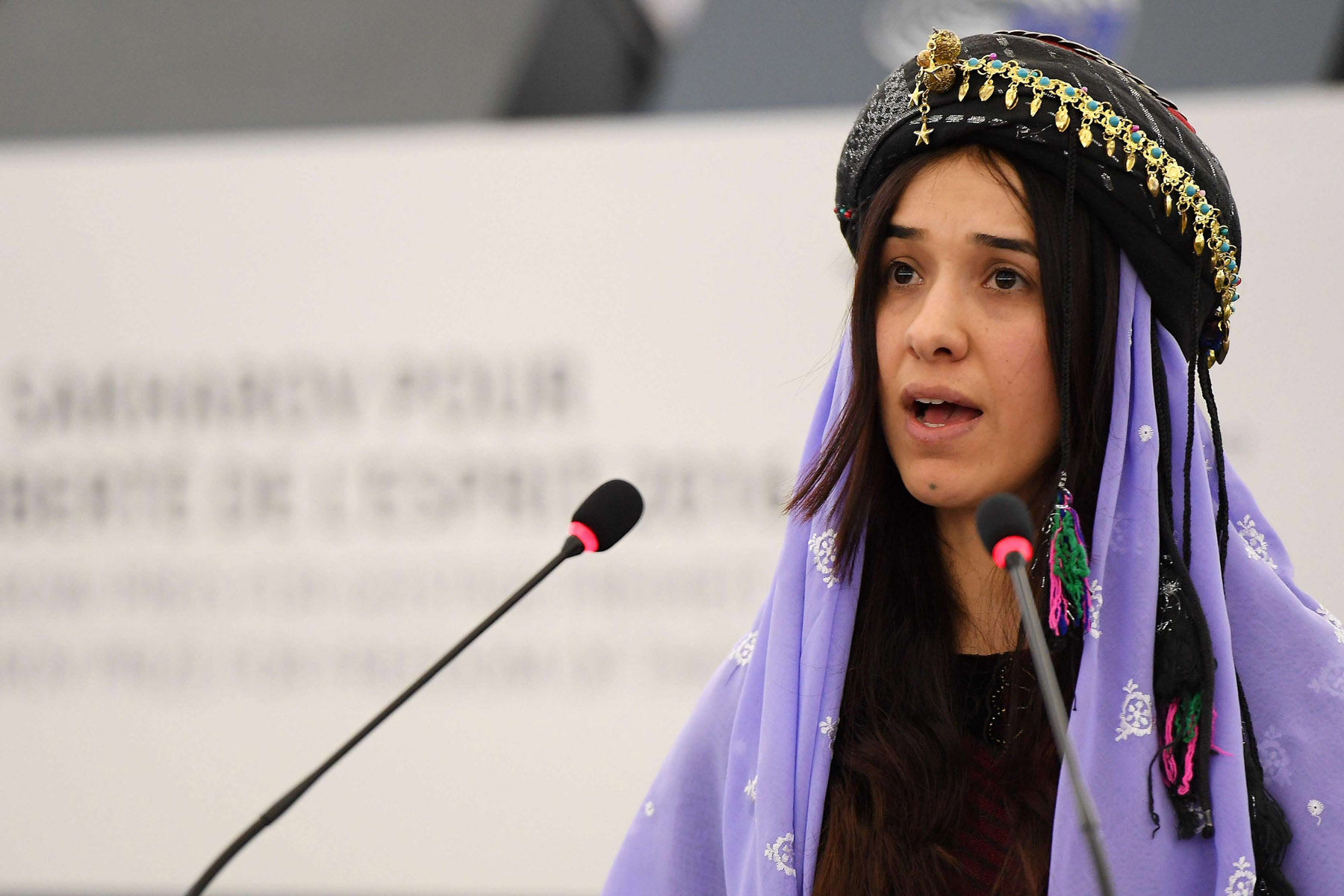 A story of survival. A 2016 file picture shows Nadia Murad, public advocate for the Yazidi community in Iraq, delivering a speech at the European parliament in Strasbourg.  (AFP)