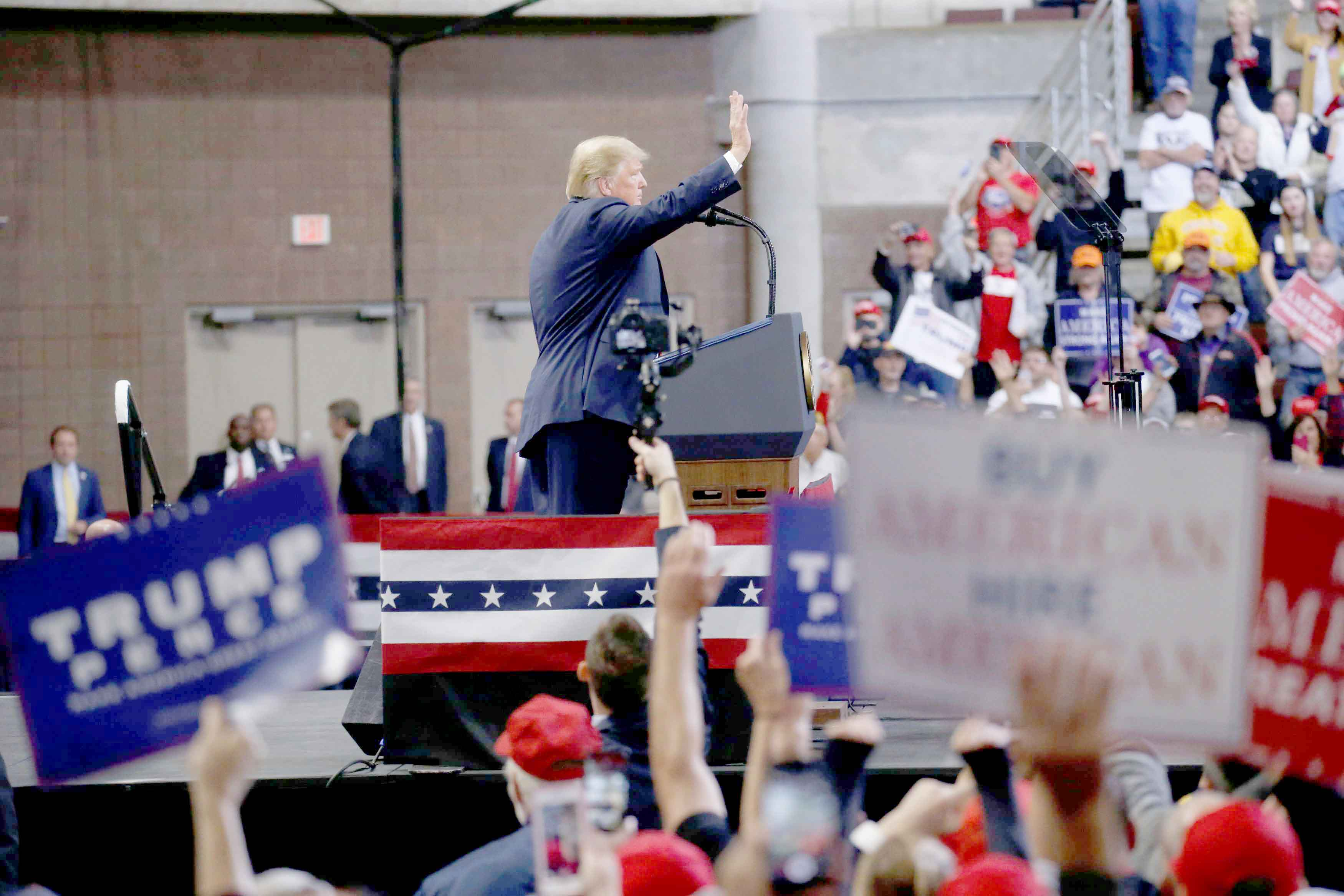 US President Donald Trump addresses supporters during a campaign rally at Mayo Civic Center in Rochester, on October 4. (Reuters)